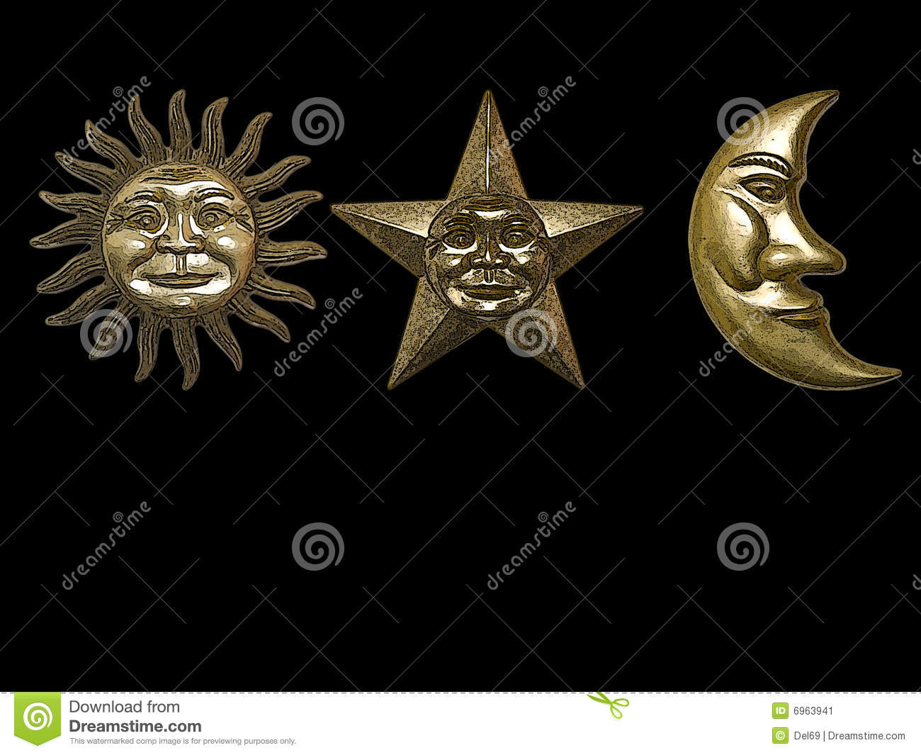 Gold Sun Star Moon Stock Image Image Of Shine Background