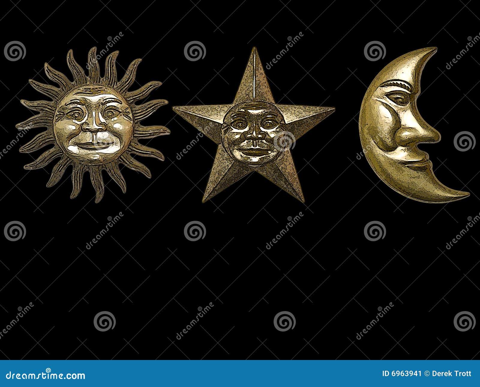 Gold Sun Star Moon Stock Image Image 6963941