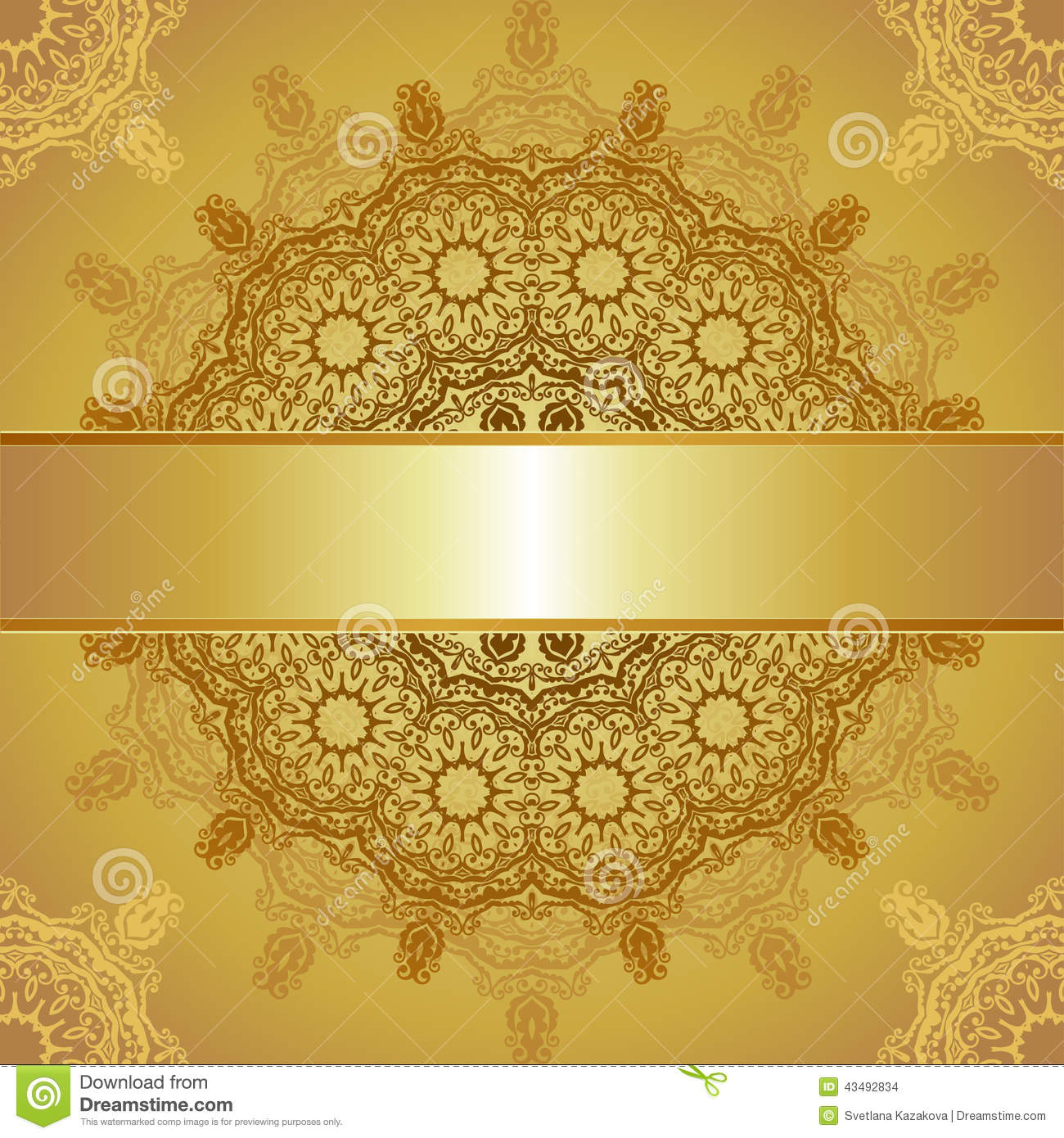 Gold Template For Greeting Card Stock Vector - Illustration of ...