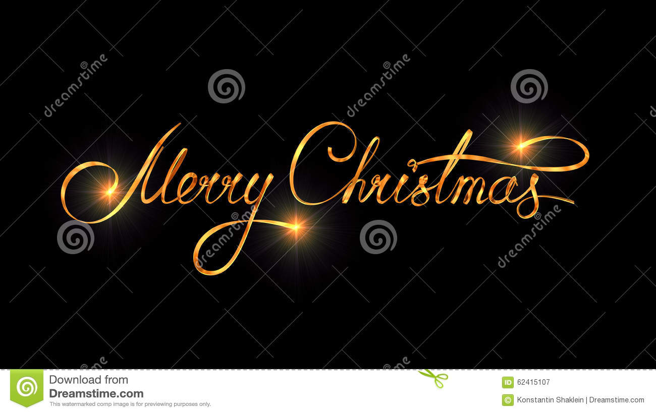 Download Gold Text Design Of Merry Christmas On Black Color Background Stock Illustration