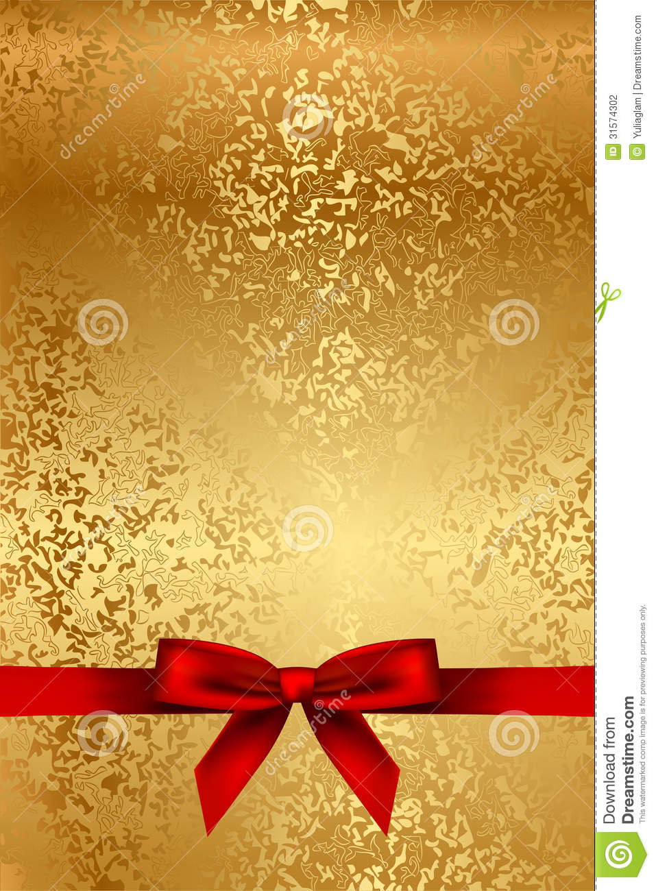 Gold Texture With Red Bow Stock Vector Illustration Of