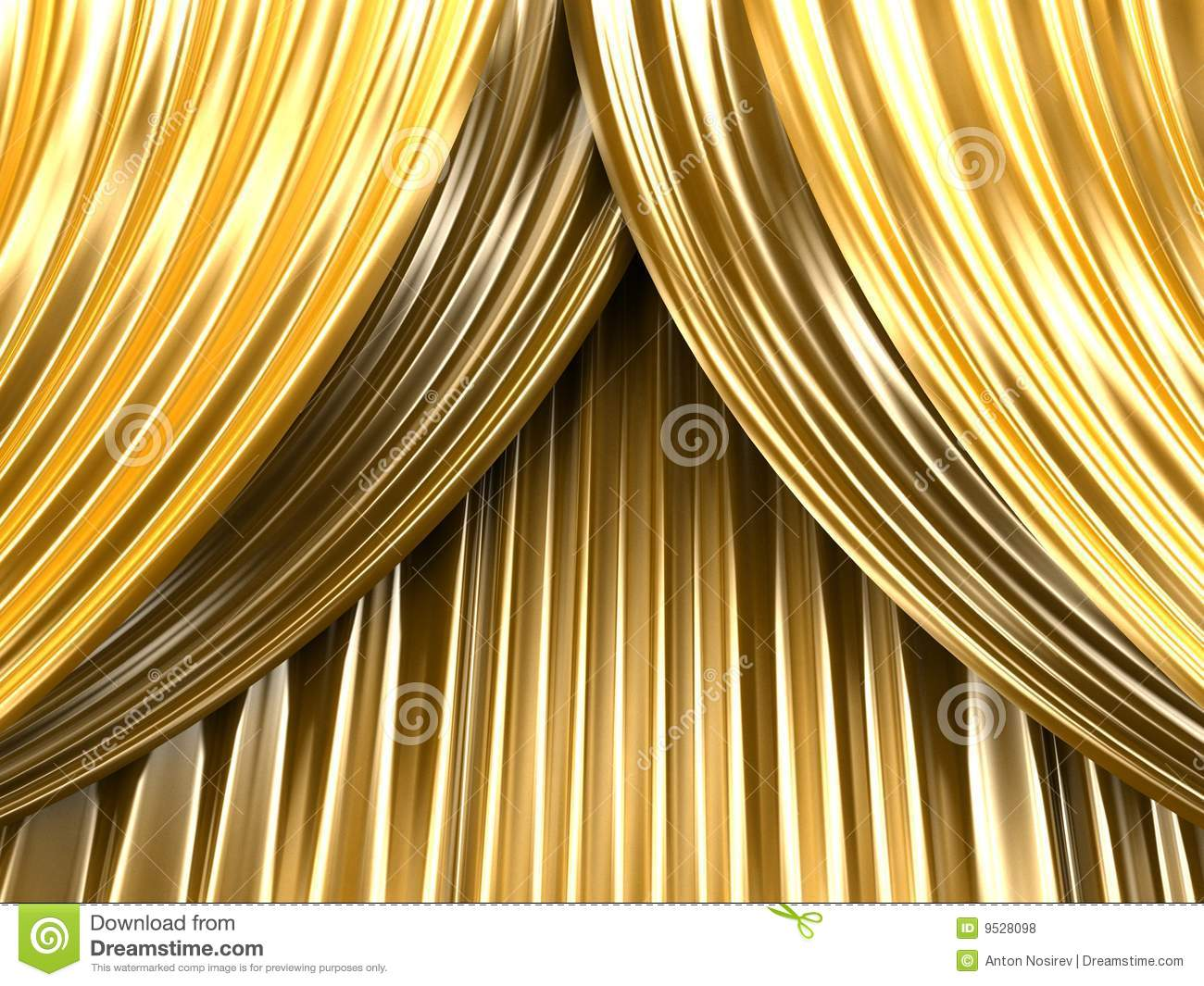 Gold Theater Curtain Royalty Free Stock Photos - Image: 9528098