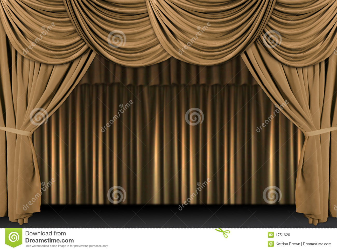 Gold stage curtain - Gold Theater Stage Draped With Curtains