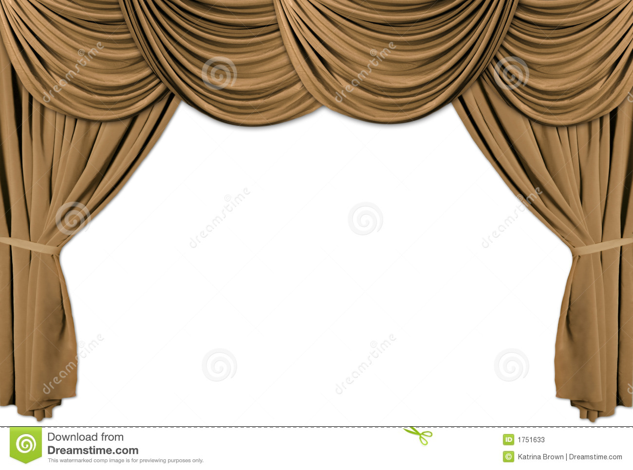 Gold Theater Stage Draped With Curtains Stock Illustration