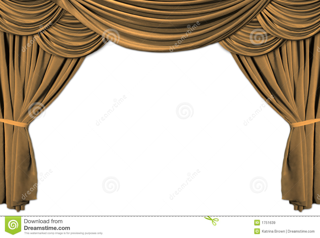 Beautiful Gold Theater Stage Draped With Curtains
