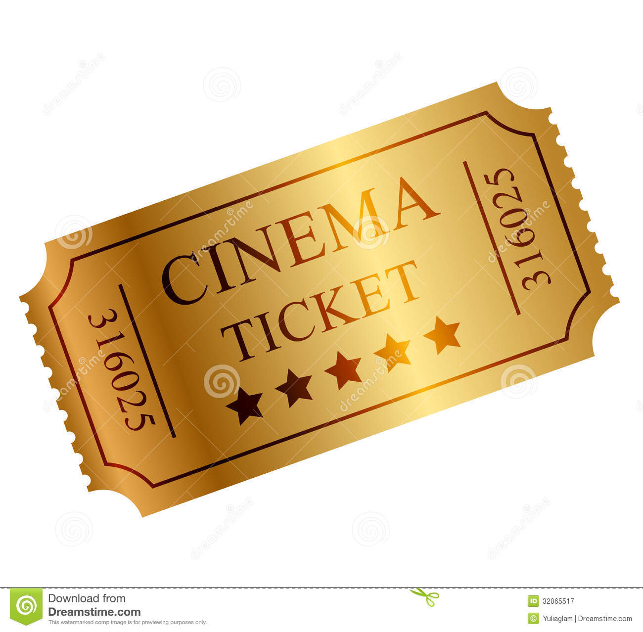 Gold Ticket Royalty Free Stock Photography - Image: 32065517
