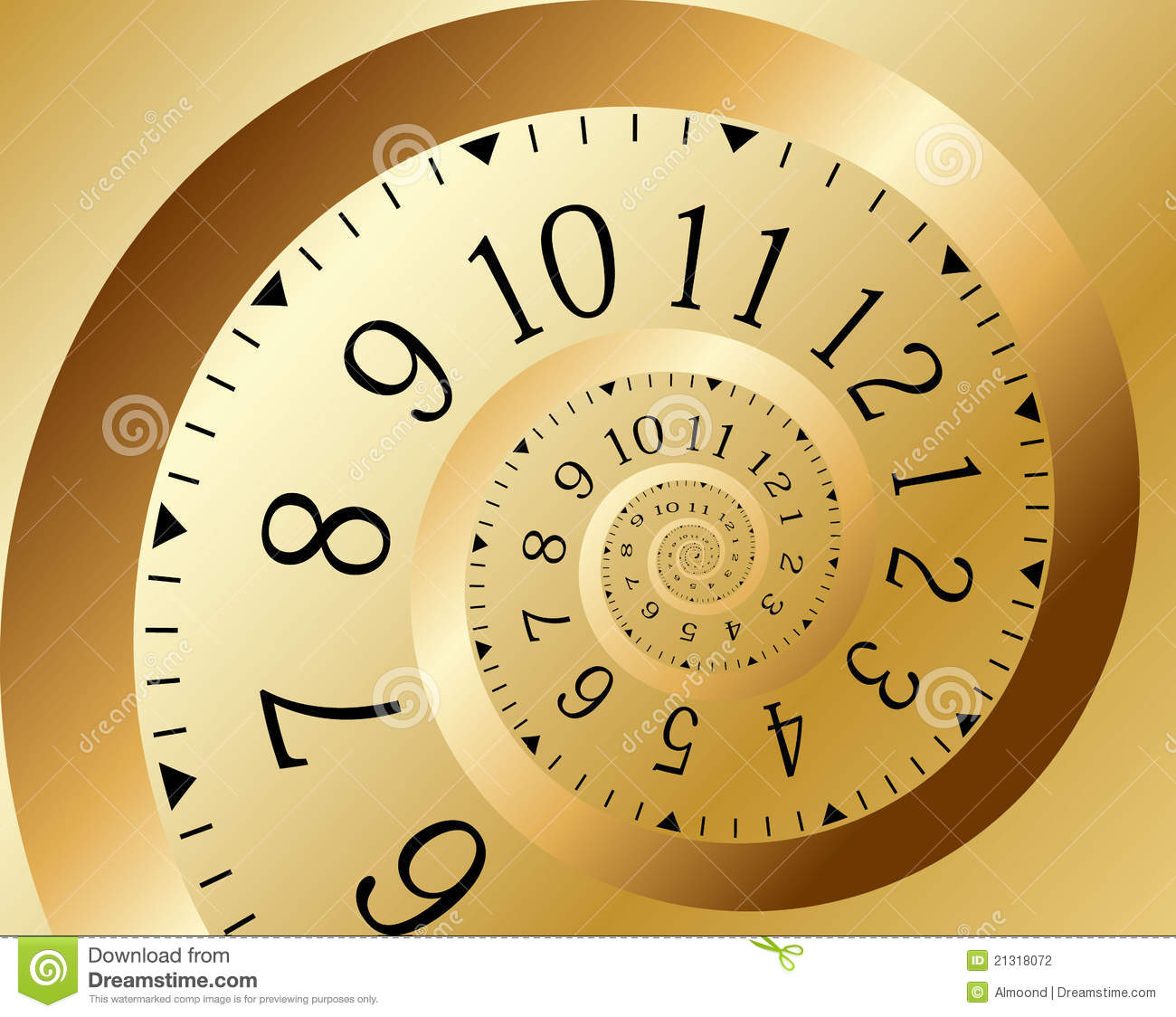 Gold Time Spiral. Vector Stock Vector. Image Of Closeup