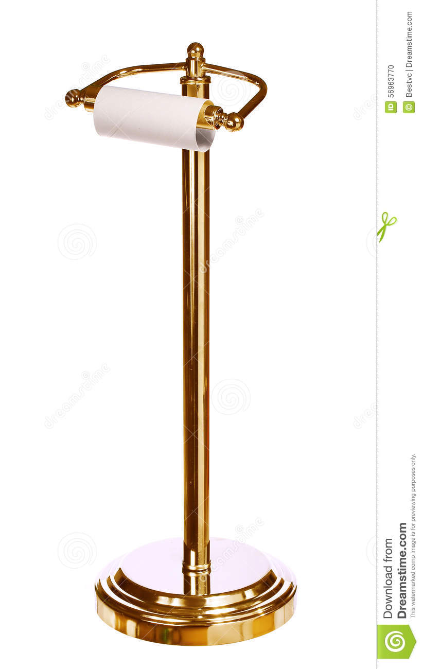 Gold toilet paper holder standing isolated on white stock photo image 56963770 - Gold toilet paper holder stand ...