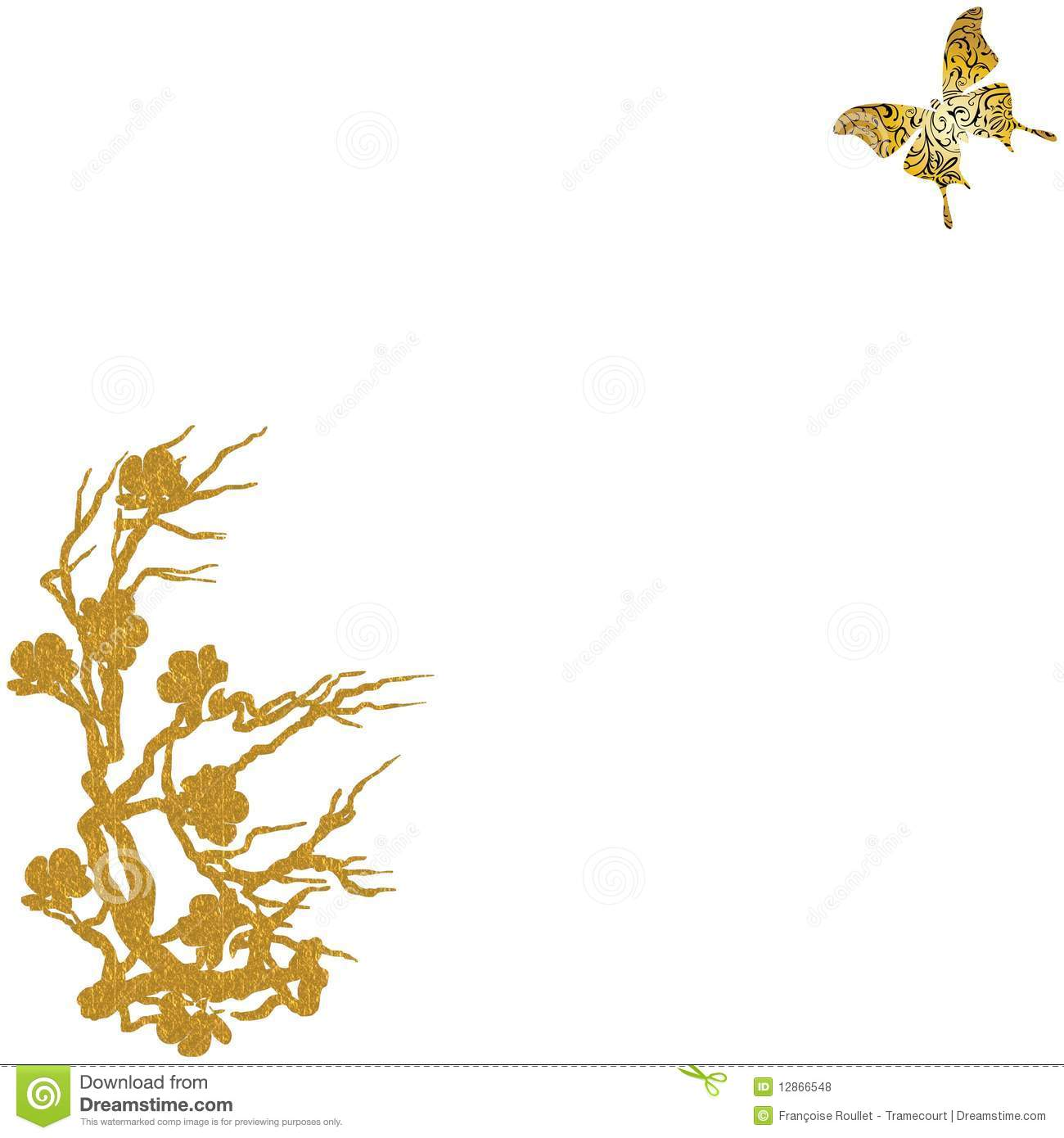 Gold Tree Butterfly Background Royalty Free Stock Photos ...