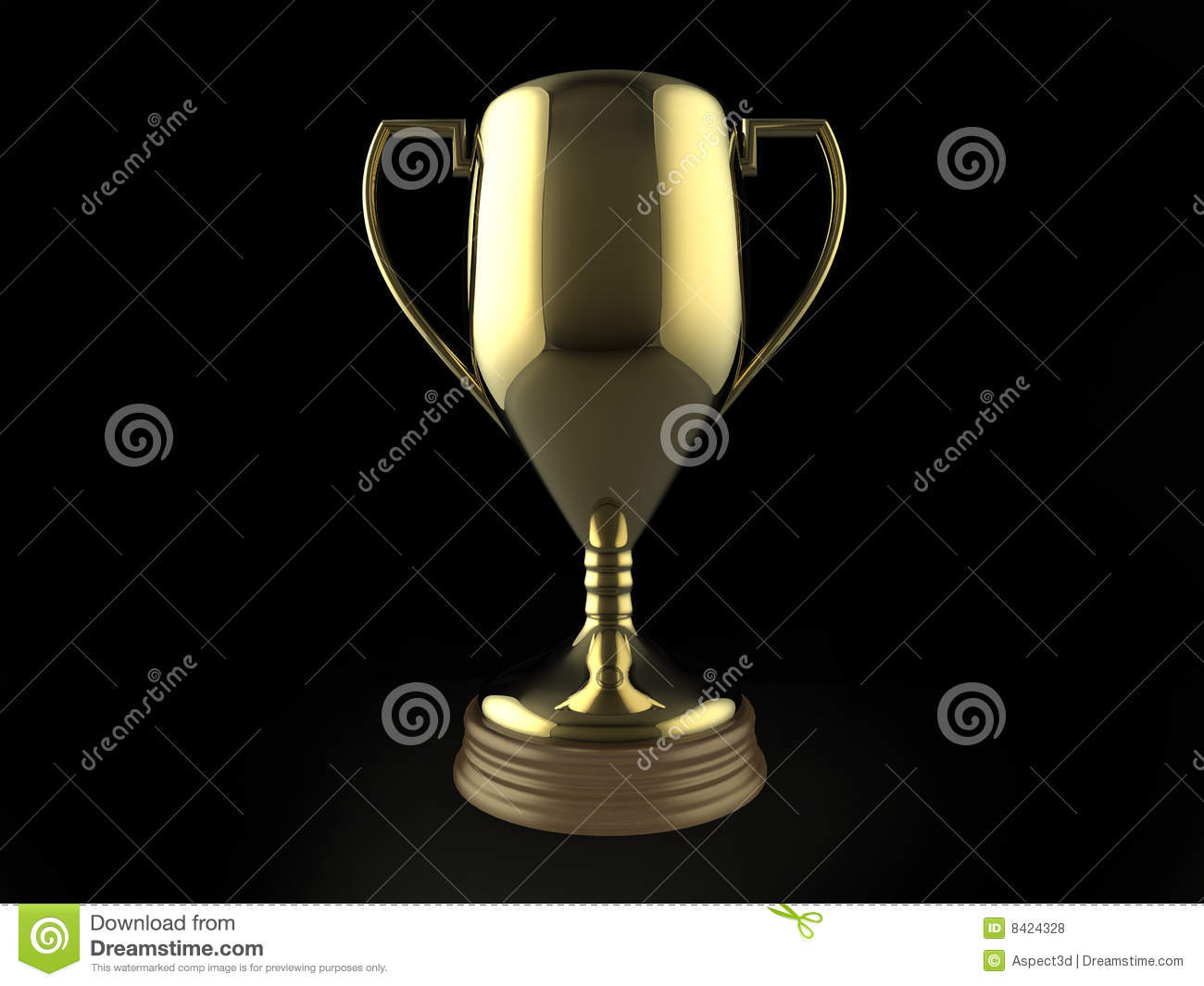 Gold Trophy On Black Background Stock Illustration