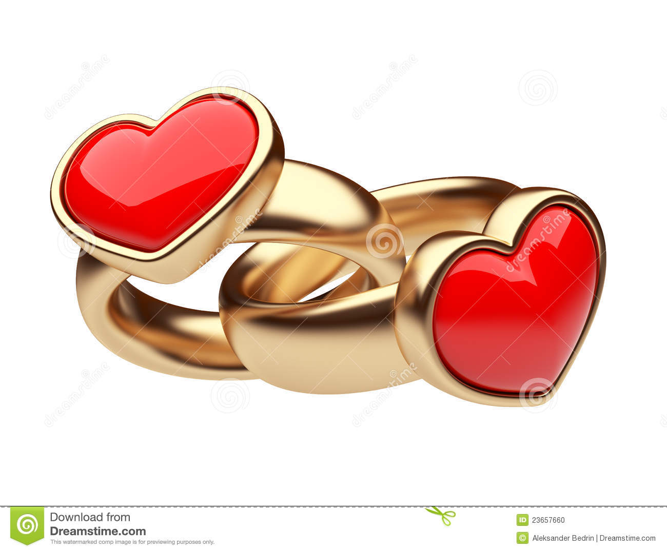gold two ring with red heart 3d love isolated stock illustration