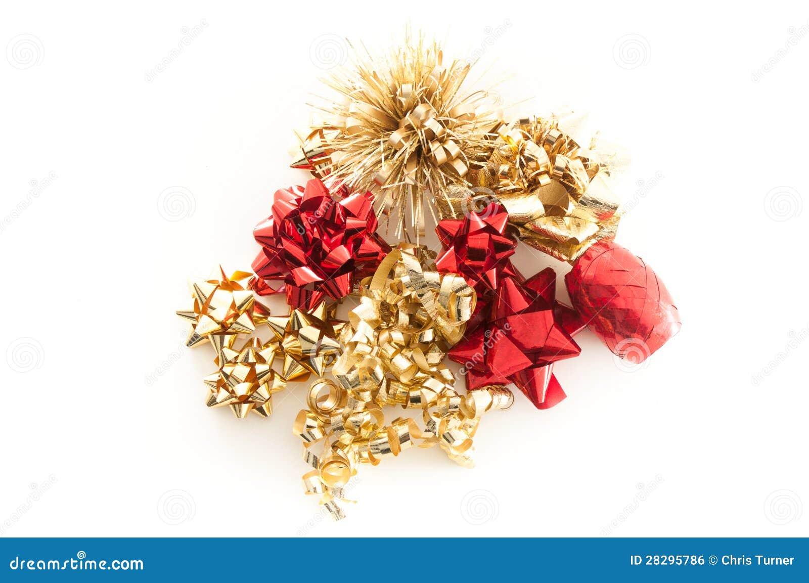 Gold Und Rote Weihnachtsbögen Und -farbbänder Stockfoto - Bild von ...