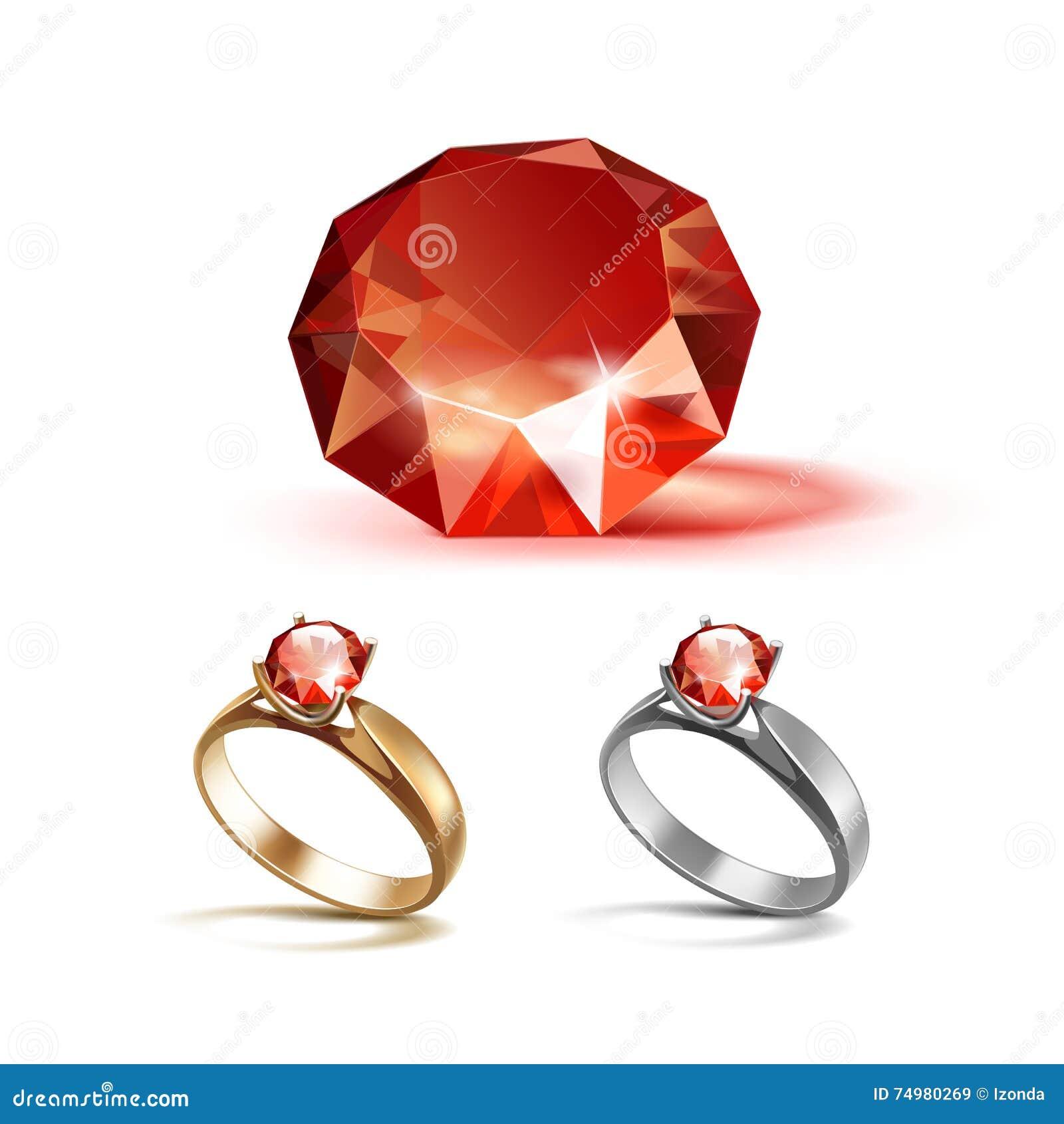 Gold Und Silber Verlobungsringe Mit Rotem Glanzendem Klarem