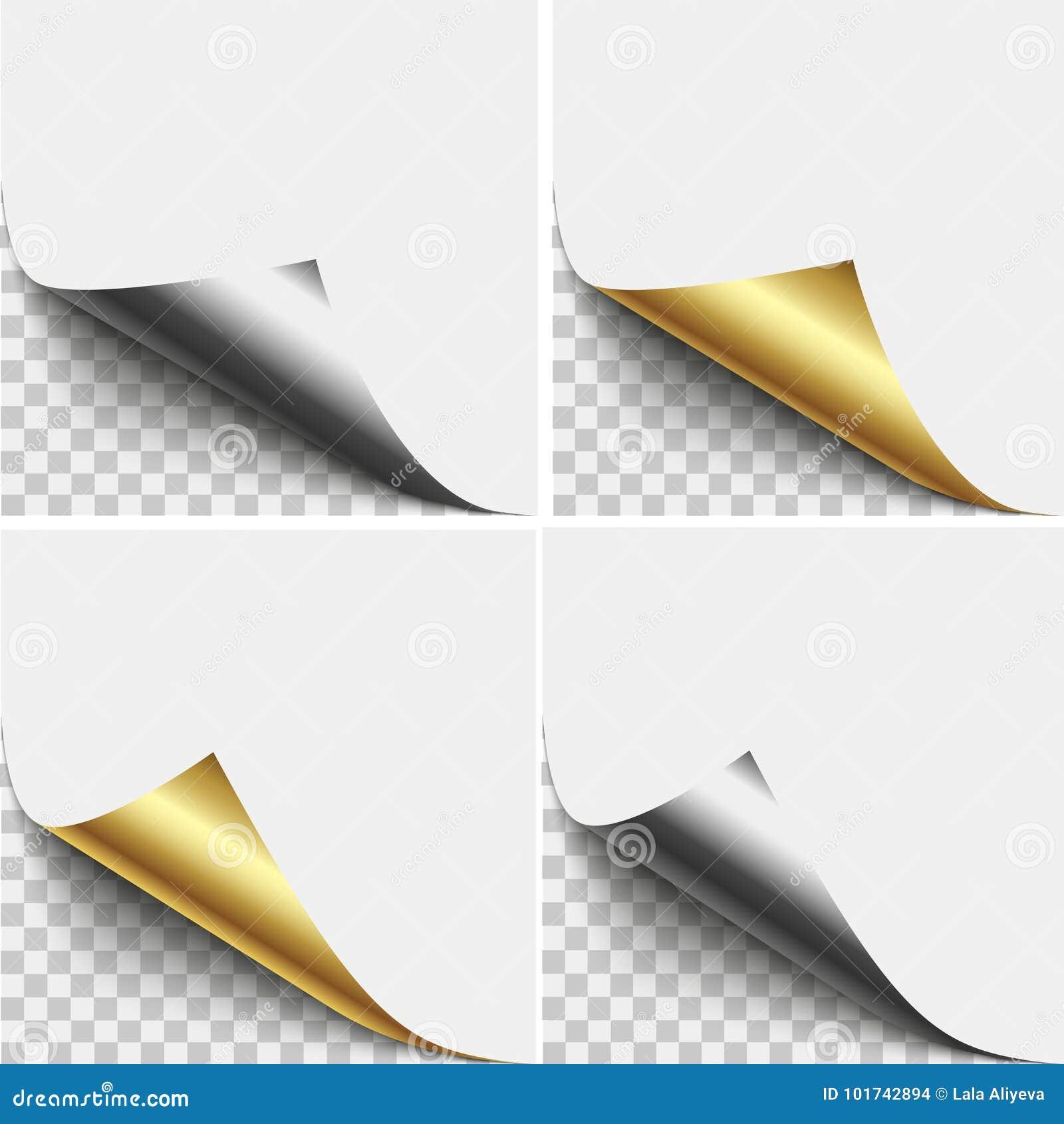 Gold- und Silberseiteneckenschale Leerbeleg der gefalteten klebrigen Papieranmerkung Vektorillustrations-Aufkleberschale für die