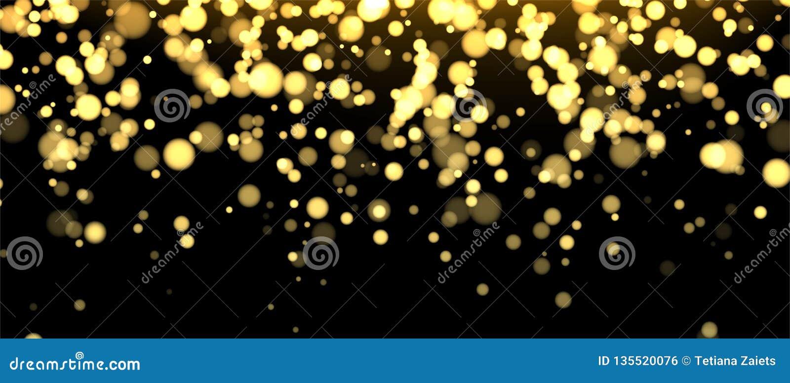Gold unscharfe Fahne auf schwarzem Hintergrund Funkelnder fallender Konfettihintergrund Goldene Schimmerbeschaffenheit für Luxuse