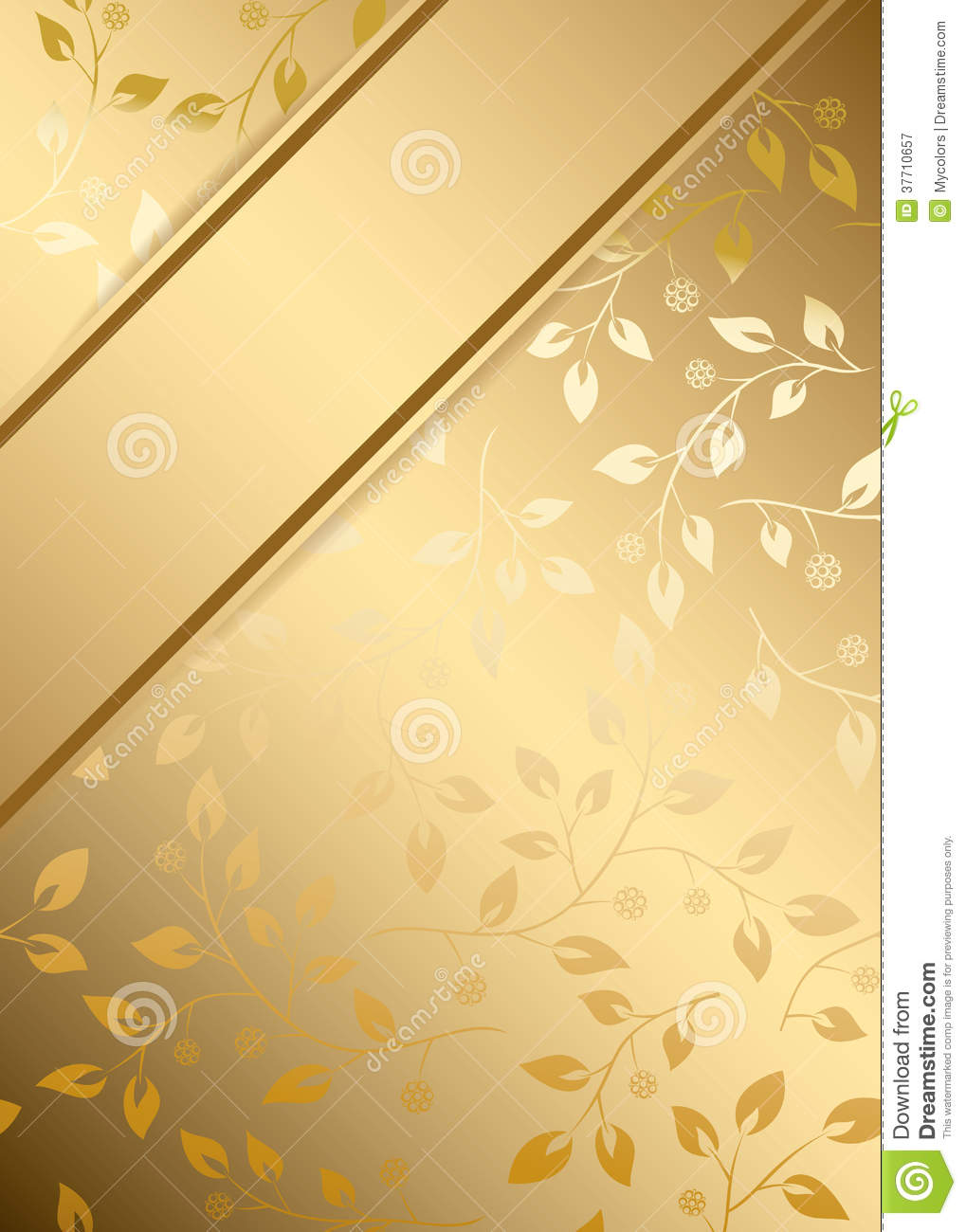 Gold Vector Background With Gold Floral Ornament Stock Vector Image 37710657