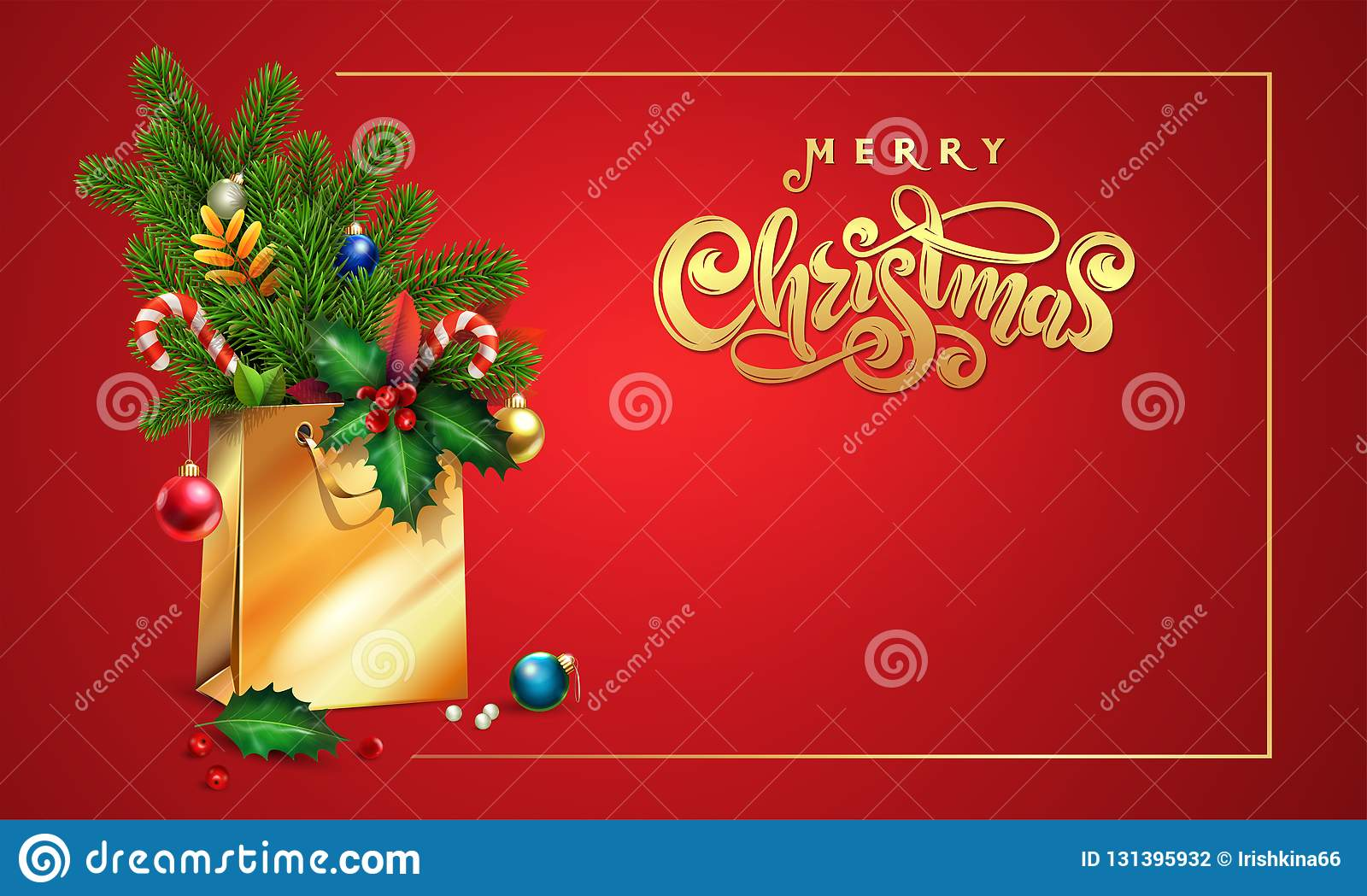 Gold Vector hand drawn lettering text Merry Christmas. 3d Shopping bag, spruce, fir branches, xmas toys, colorful balls, holly
