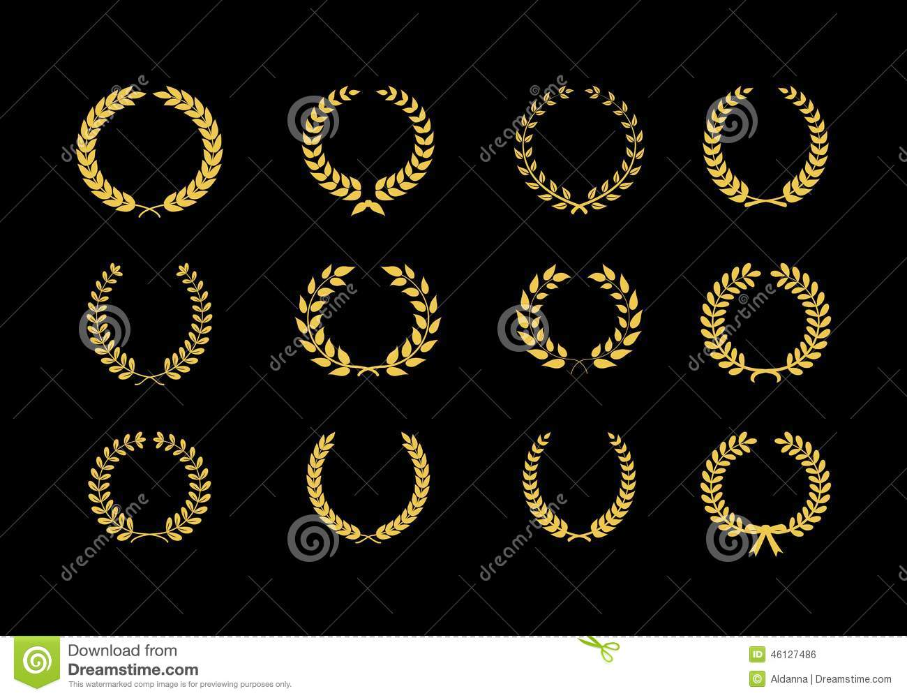 Gold vector laurel wheat floral and foliate