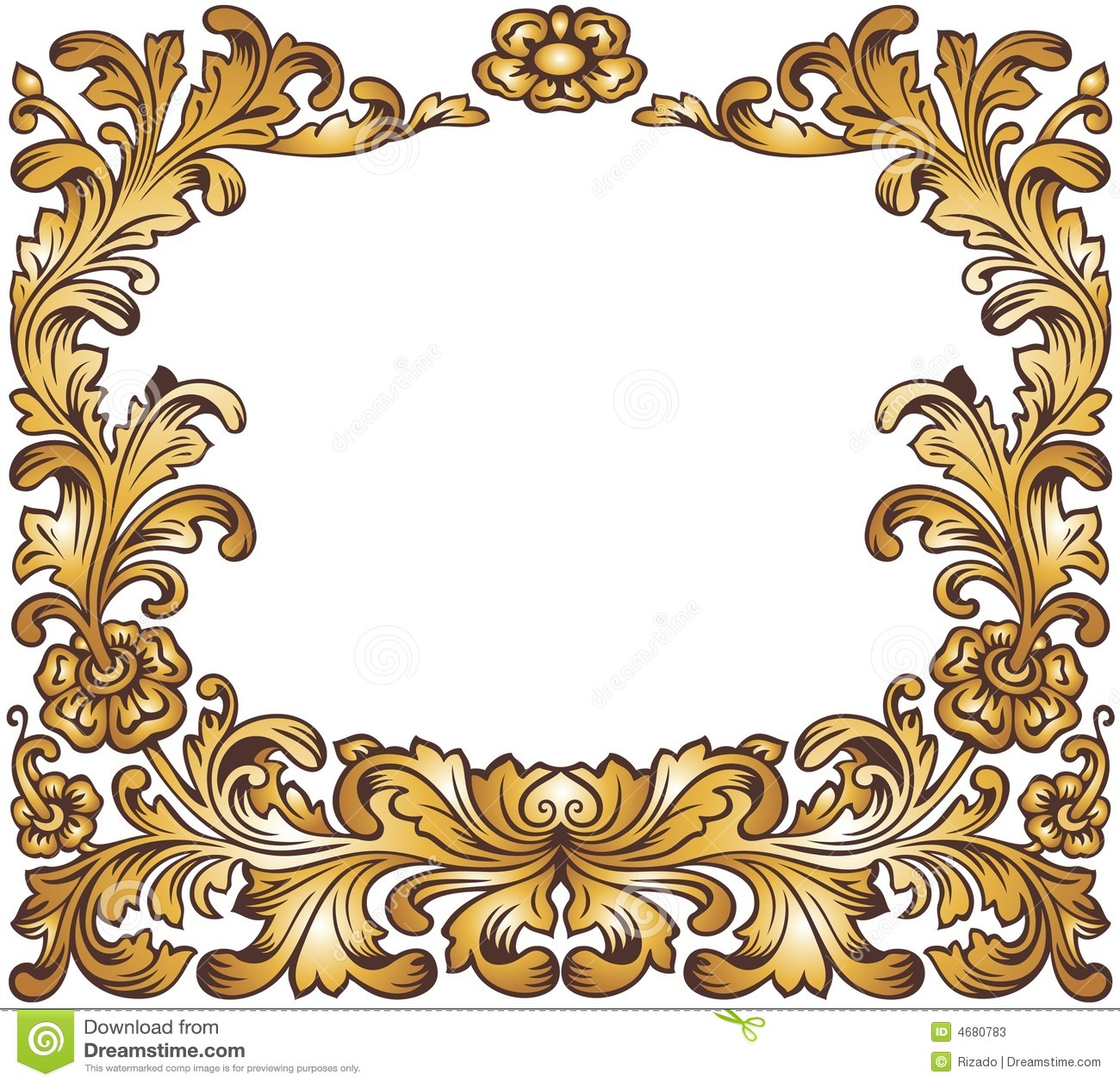 Gold Vintage Frame Stock Vector Illustration Of Branch