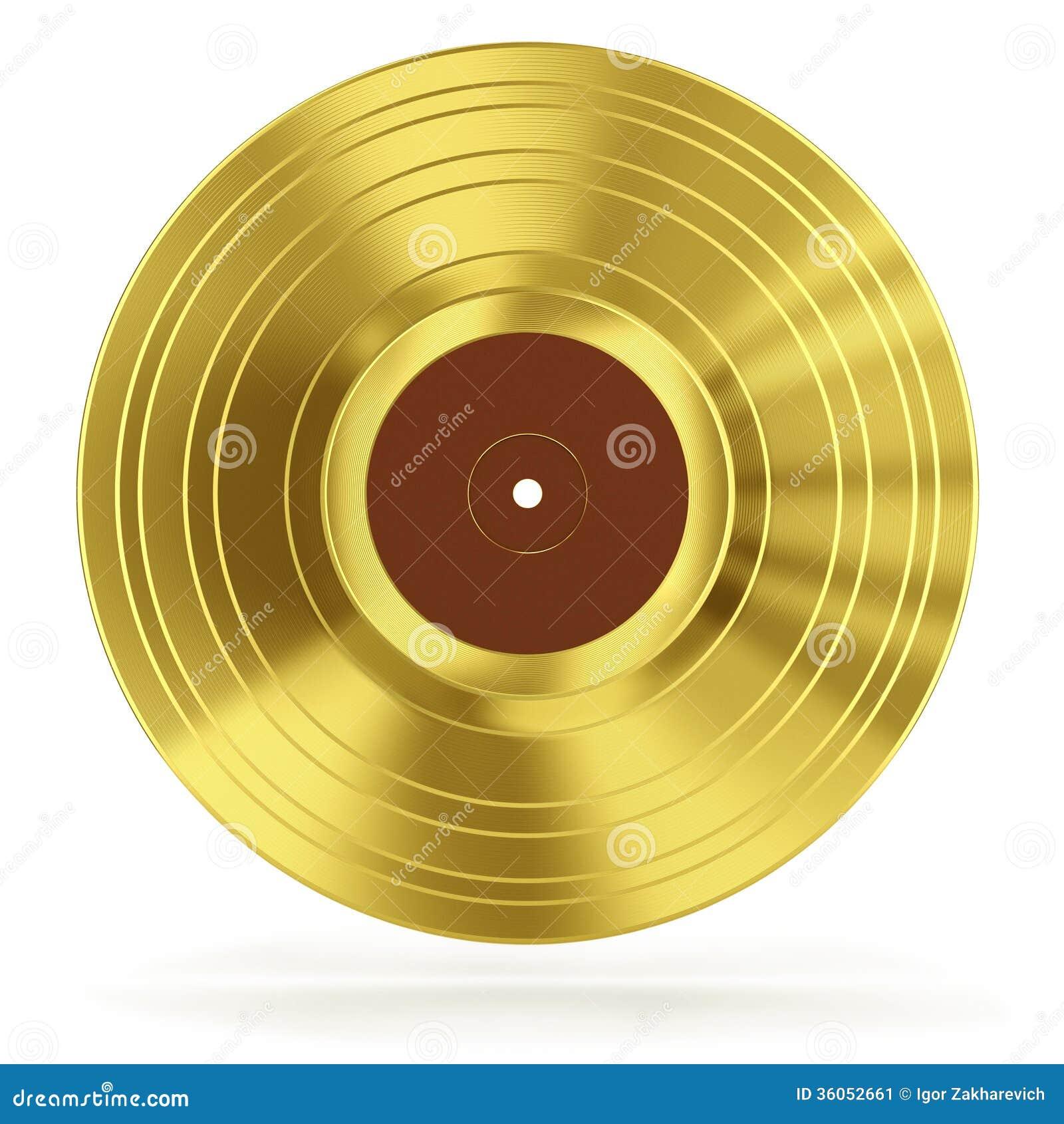 Gold Vinyl Record Stock Image Image 36052661