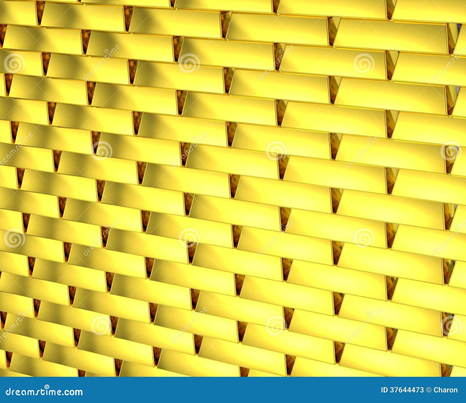 Gold Wall Golden Bricks Endlessly Stock Image