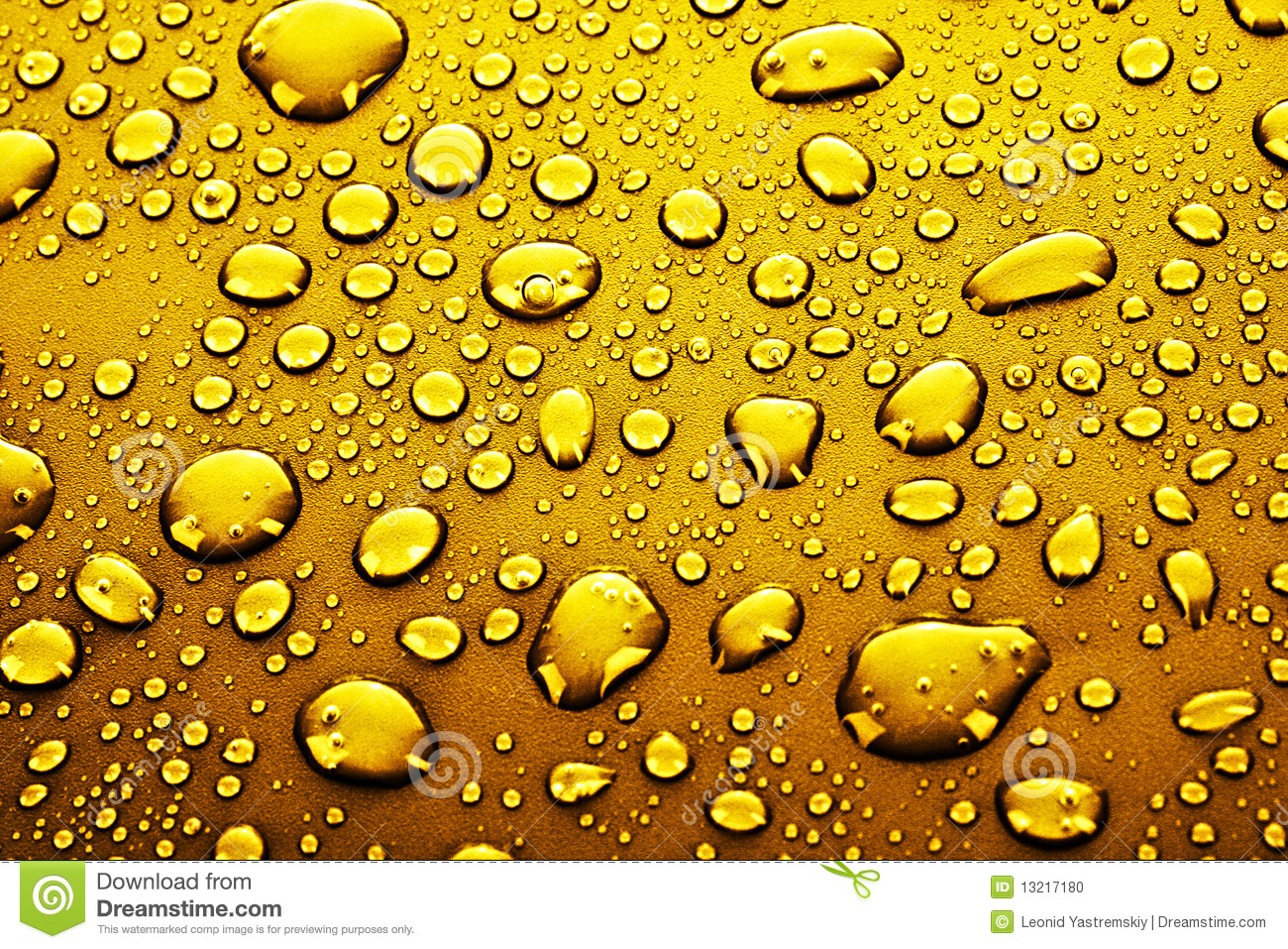 Gold Water Drops Stock Photo - Image: 13217180