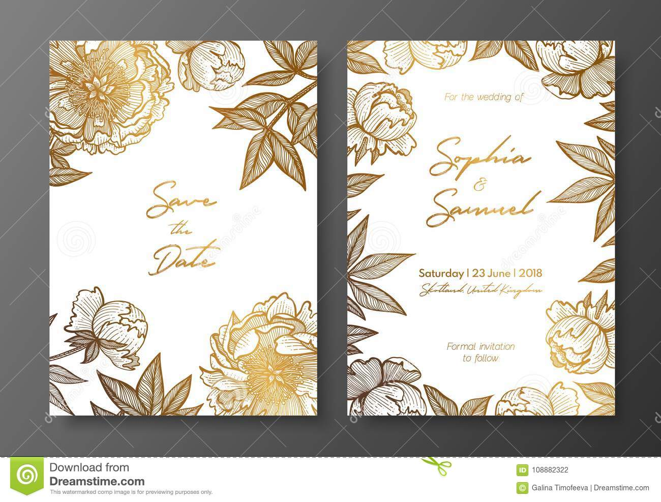 Gold Wedding Invitation With Peonies Gold Cards Templates For Save
