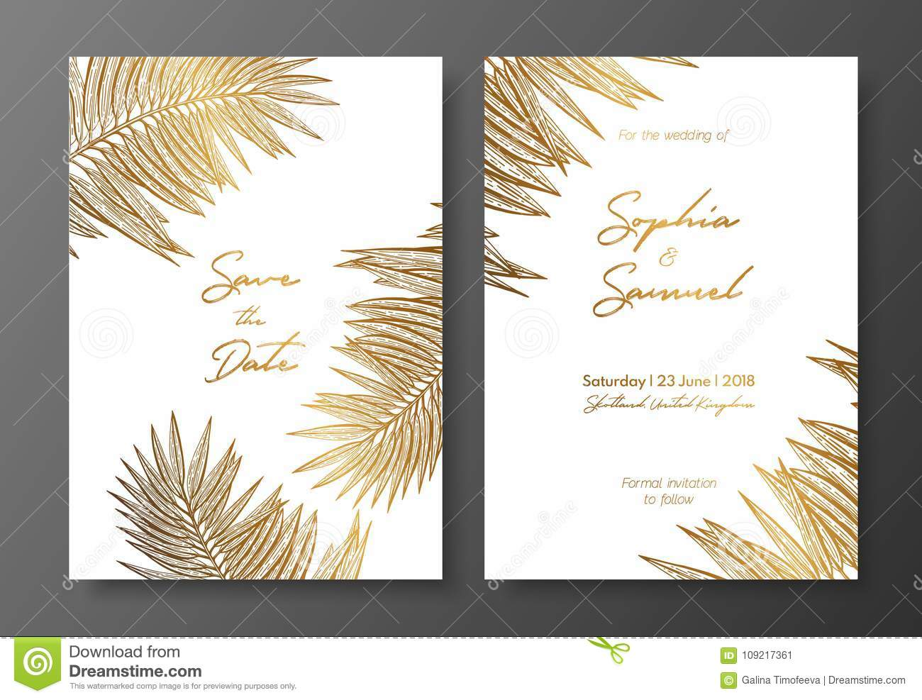 Gold wedding invitation with tropical leaves vector elements for download gold wedding invitation with tropical leaves vector elements for design template gold tropical stopboris Image collections