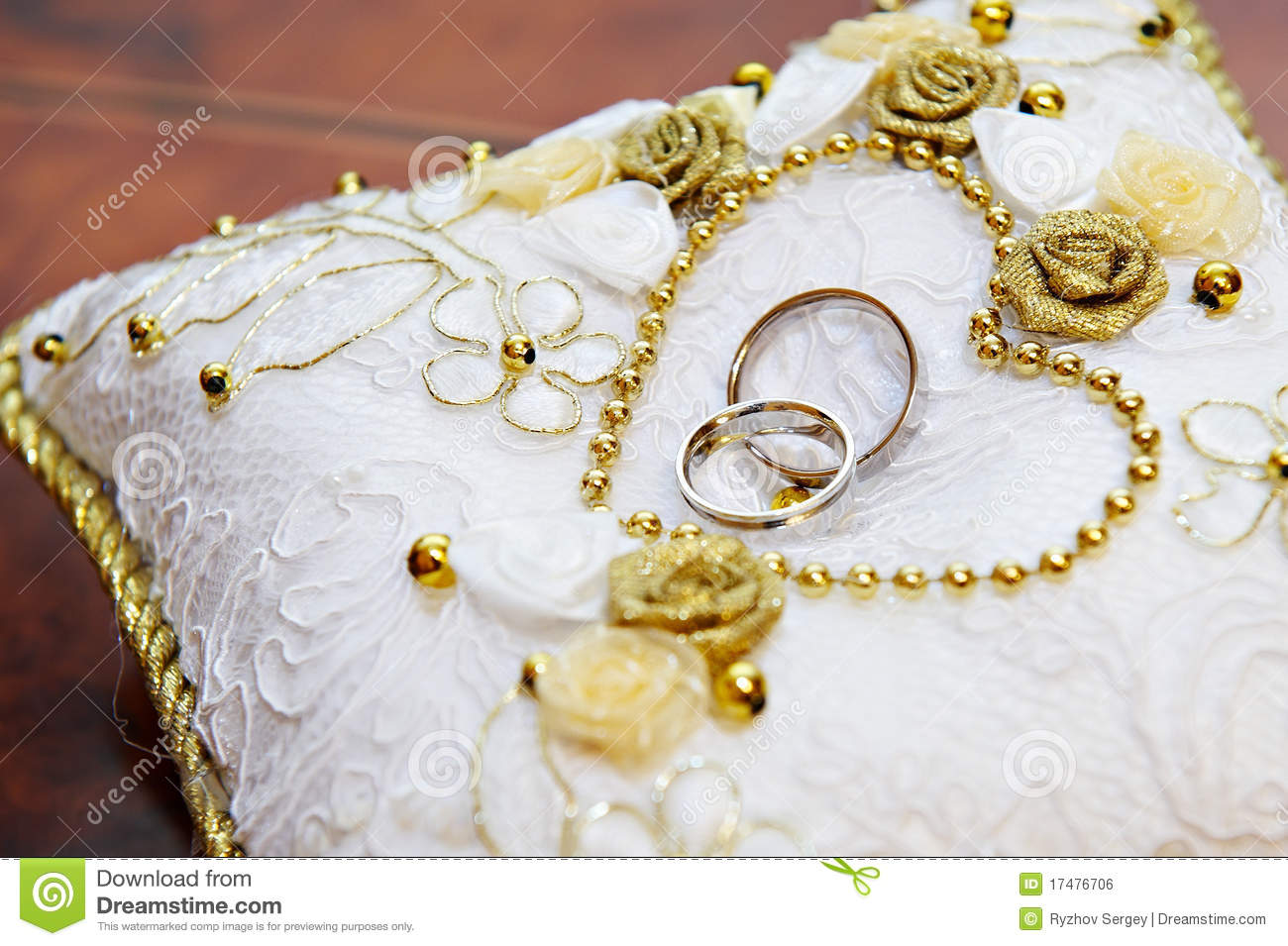 Gold Wedding Ring On Pillow Stock Photo Image of together bride
