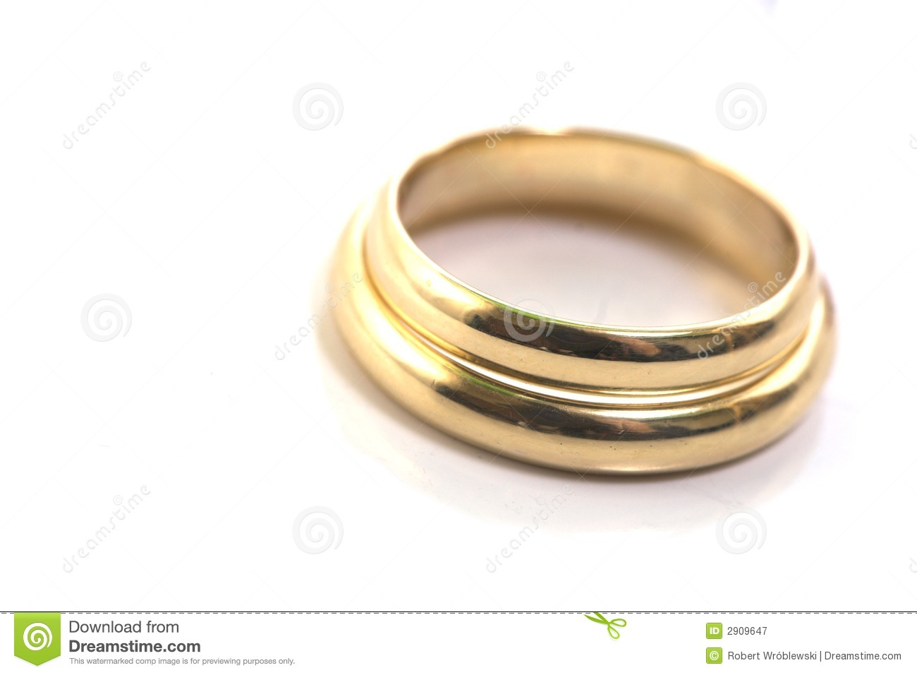 Gold wedding rings isolated on