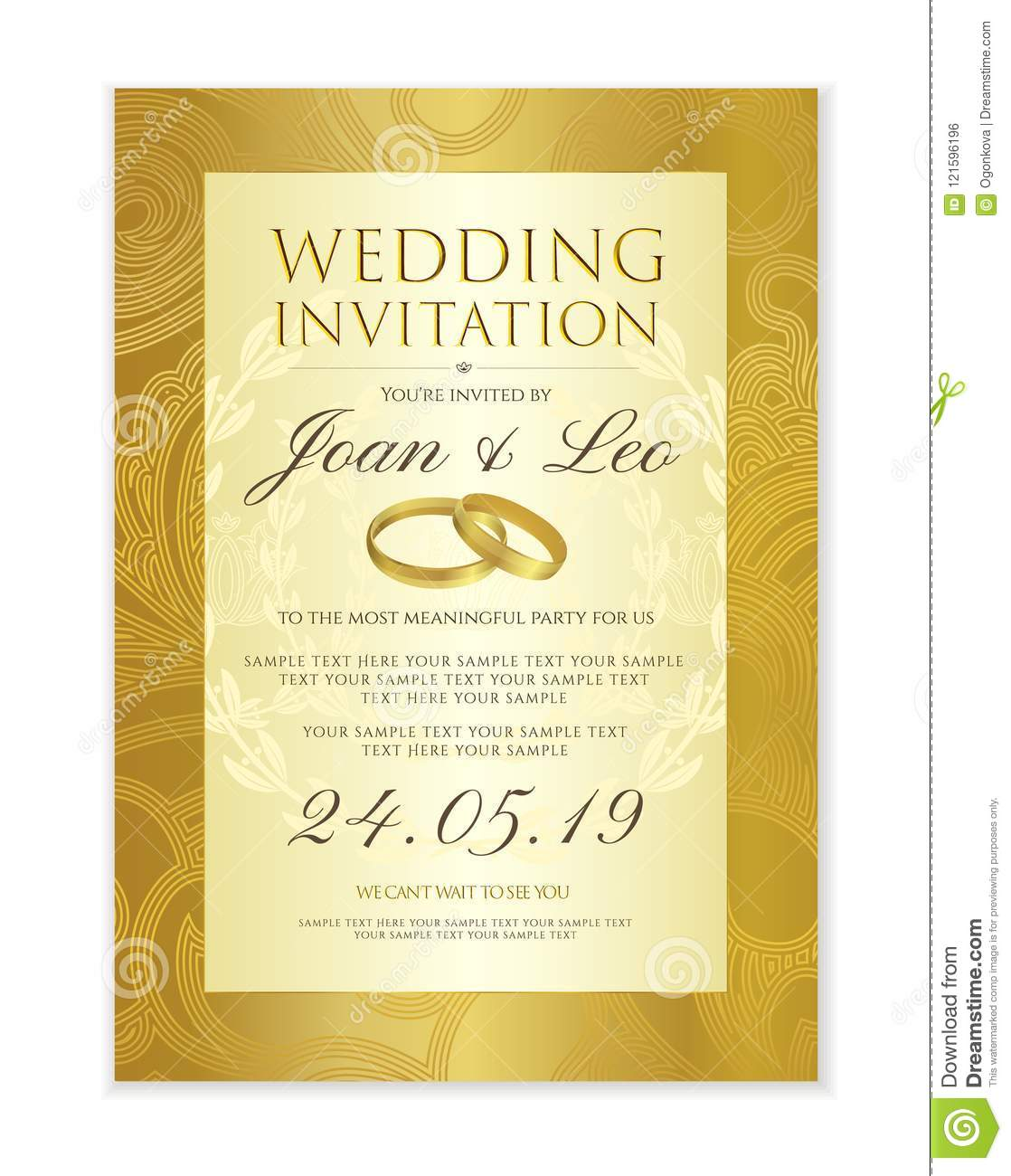 Golden Save The Date For Wedding Invitation Wedding