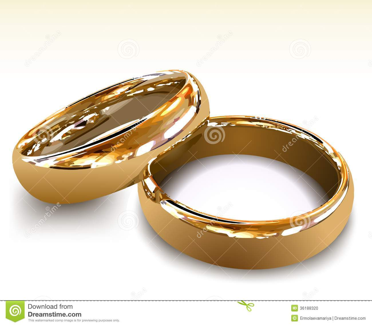 Wedding Rings For Male And Female Gold Wedding Rings Vector Illustration Stock Vector