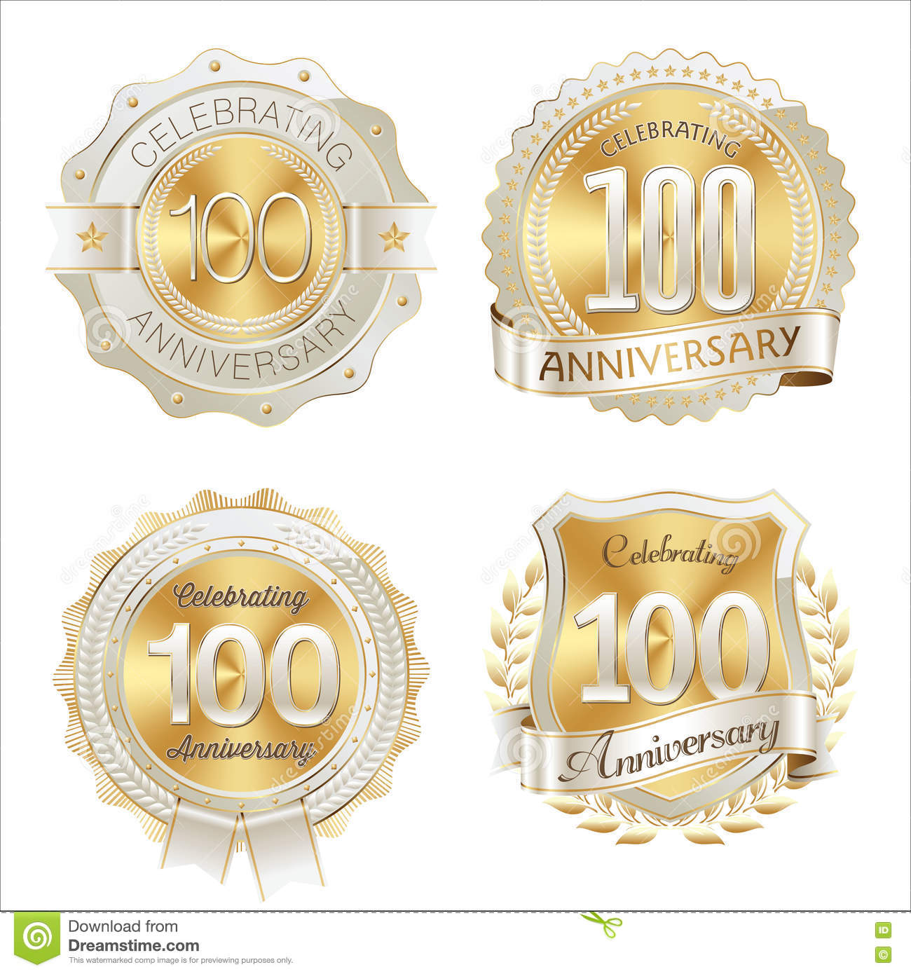 Gold and White Anniversary Badges 100th Years Celebration