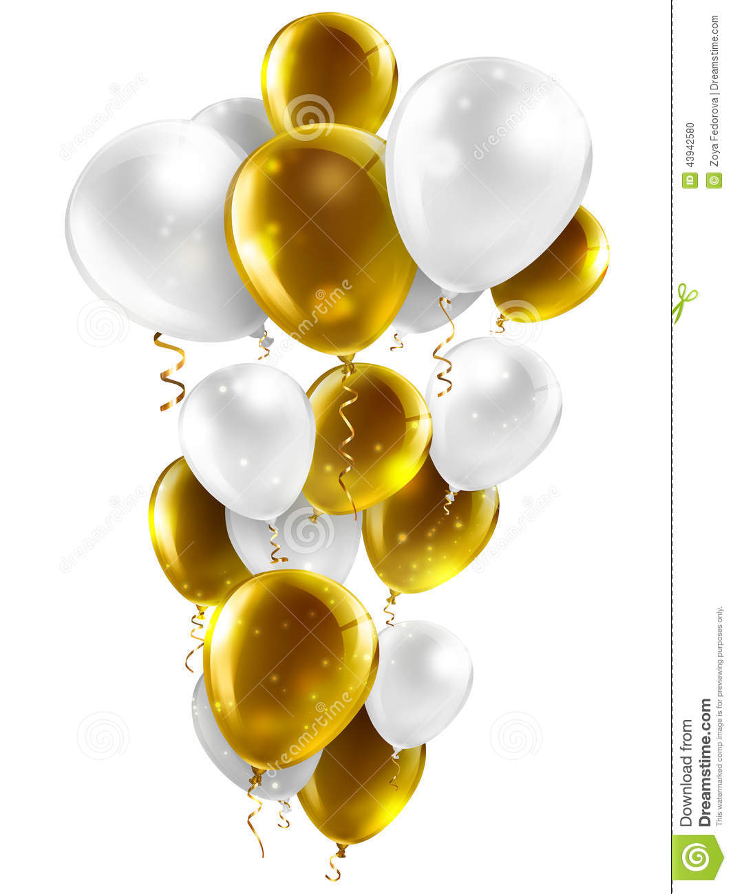 Gold And White Balloons Stock Illustration Image 43942580
