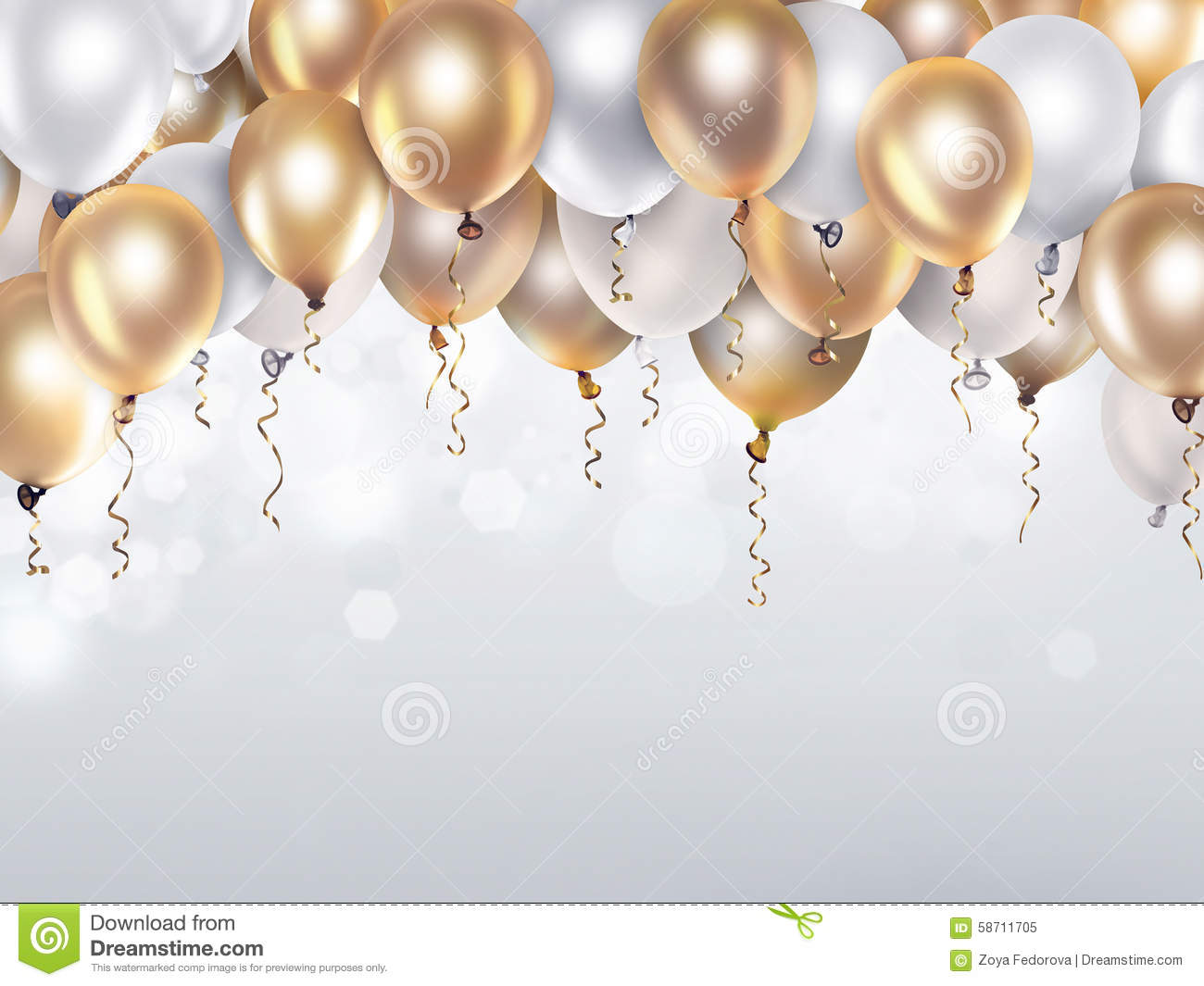 gold and white balloons stock illustration