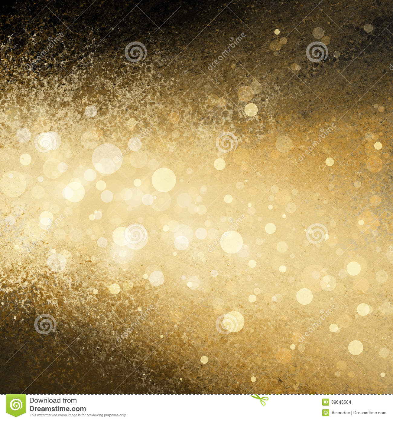 Gold white Christmas lights blurred background