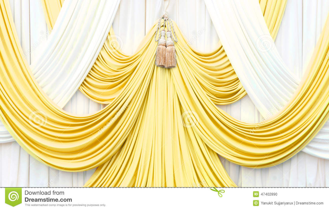 Gold stage curtain - Gold And White Curtain On Stage Stock Photo