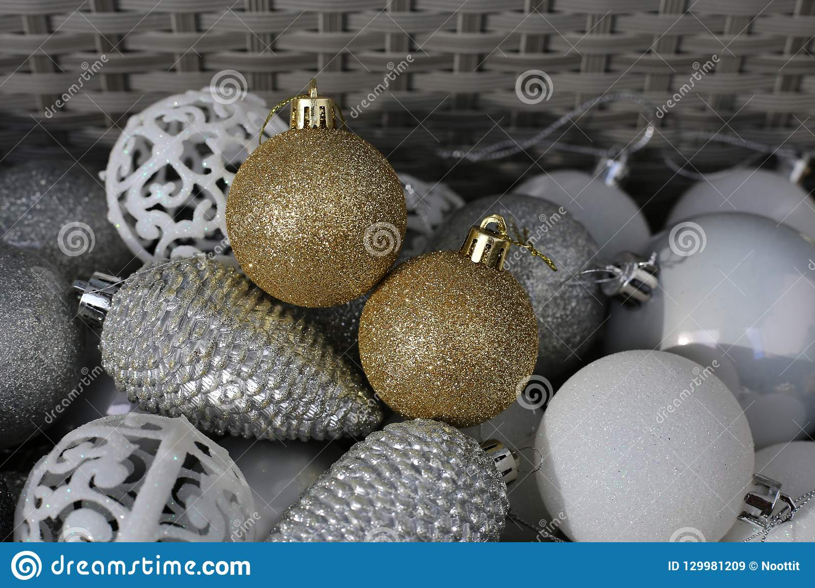 Gold, White, Silver And Gray Colored Christmas Ornaments ...