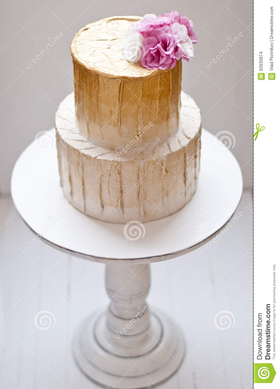 Gold And White Wedding Cake Stock Photo Image Of Cater Catering