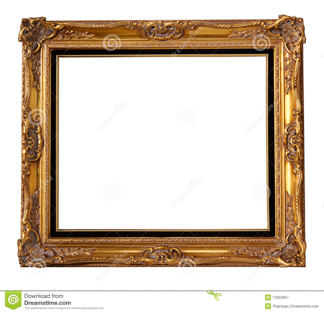 Photo of a large wooden gold ornate frame.