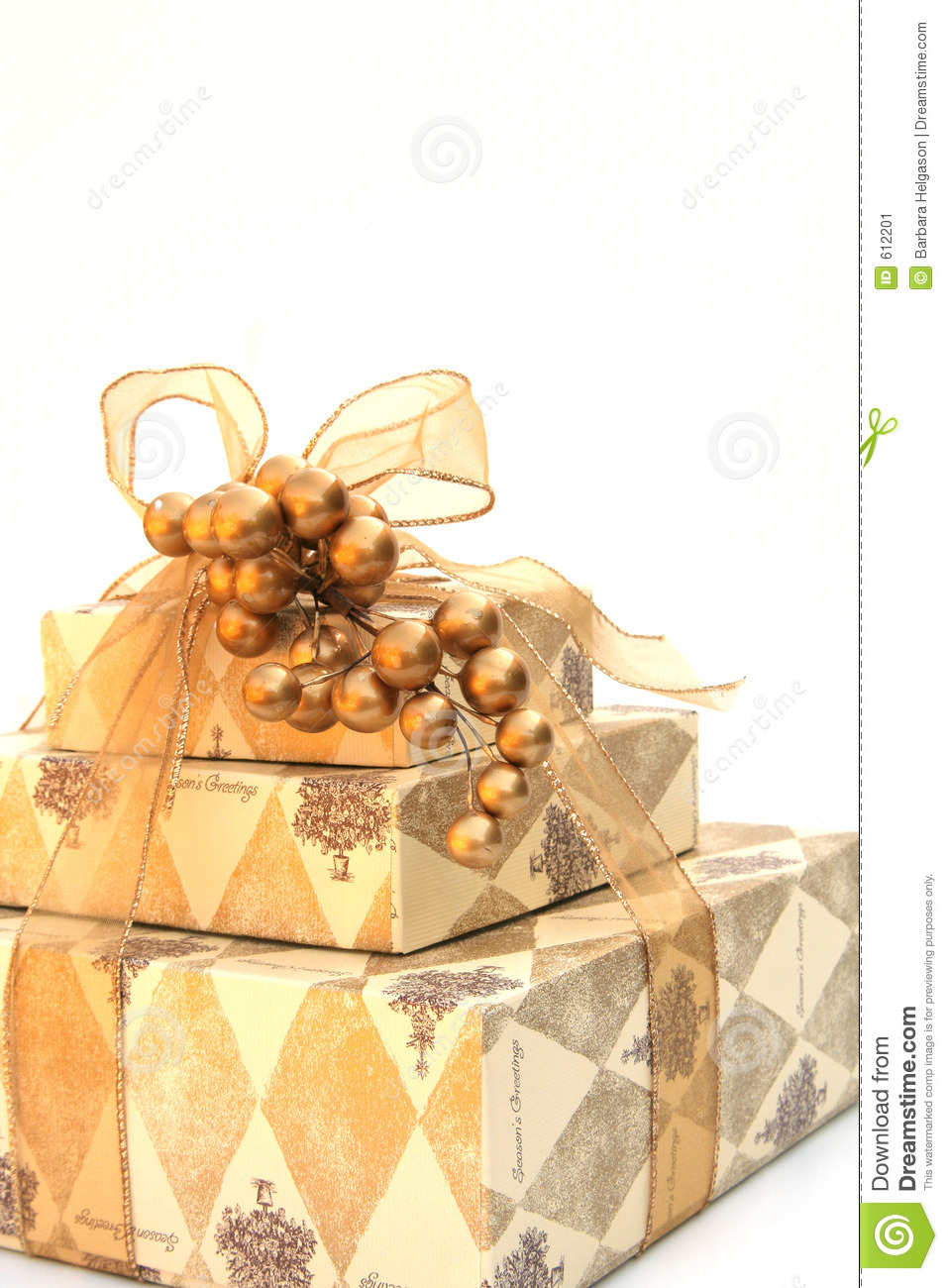 Gold Wrapped Christmas Present Stock Image Image 612201