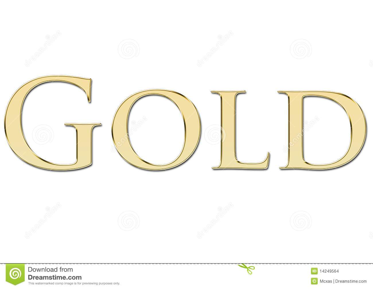 Gold Written In Golden Letters Stock Images - Image: 14249564