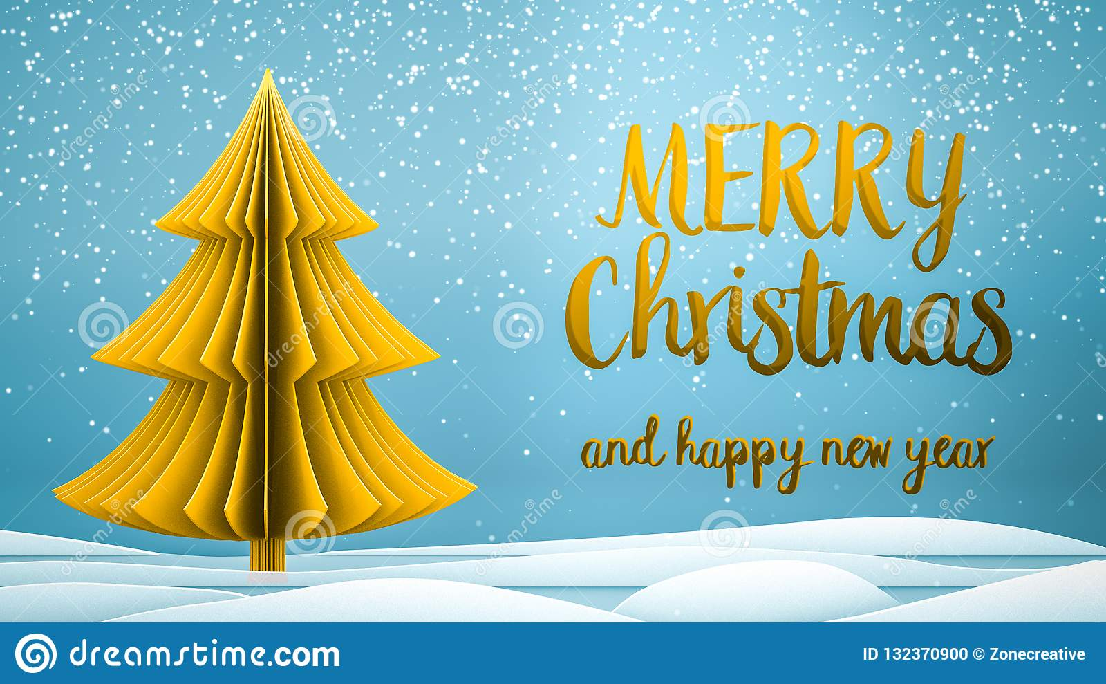 gold xmas tree merry christmas and happy new year greeting message in english on blue background