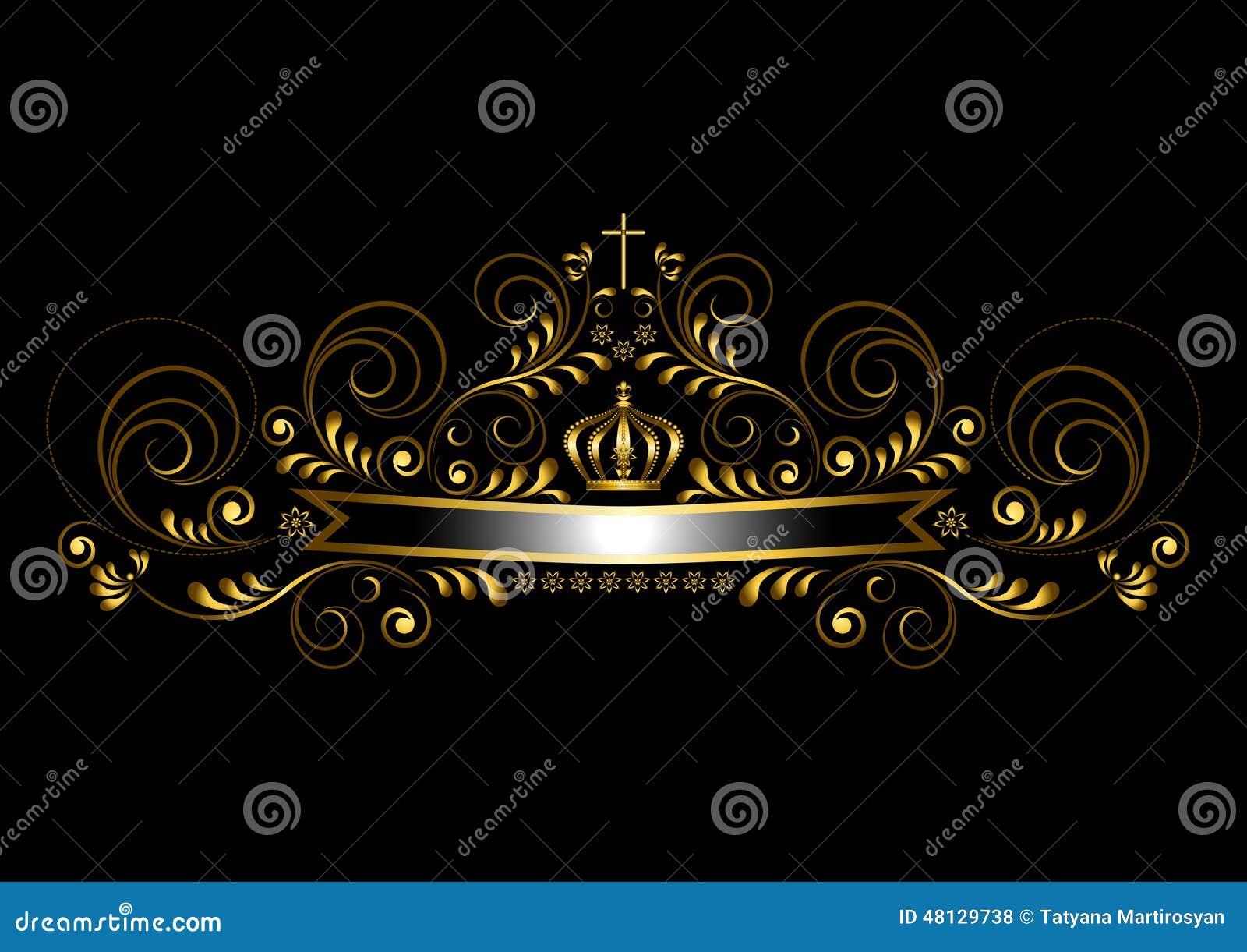 Goldband Mit Einer Krone Und Ein Kreuz Auf Einem Schwarzen ...