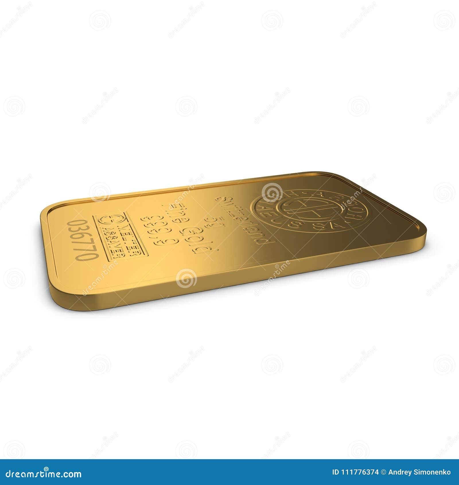 Goldbarren 5g lokalisiert auf Weiß Abbildung 3D