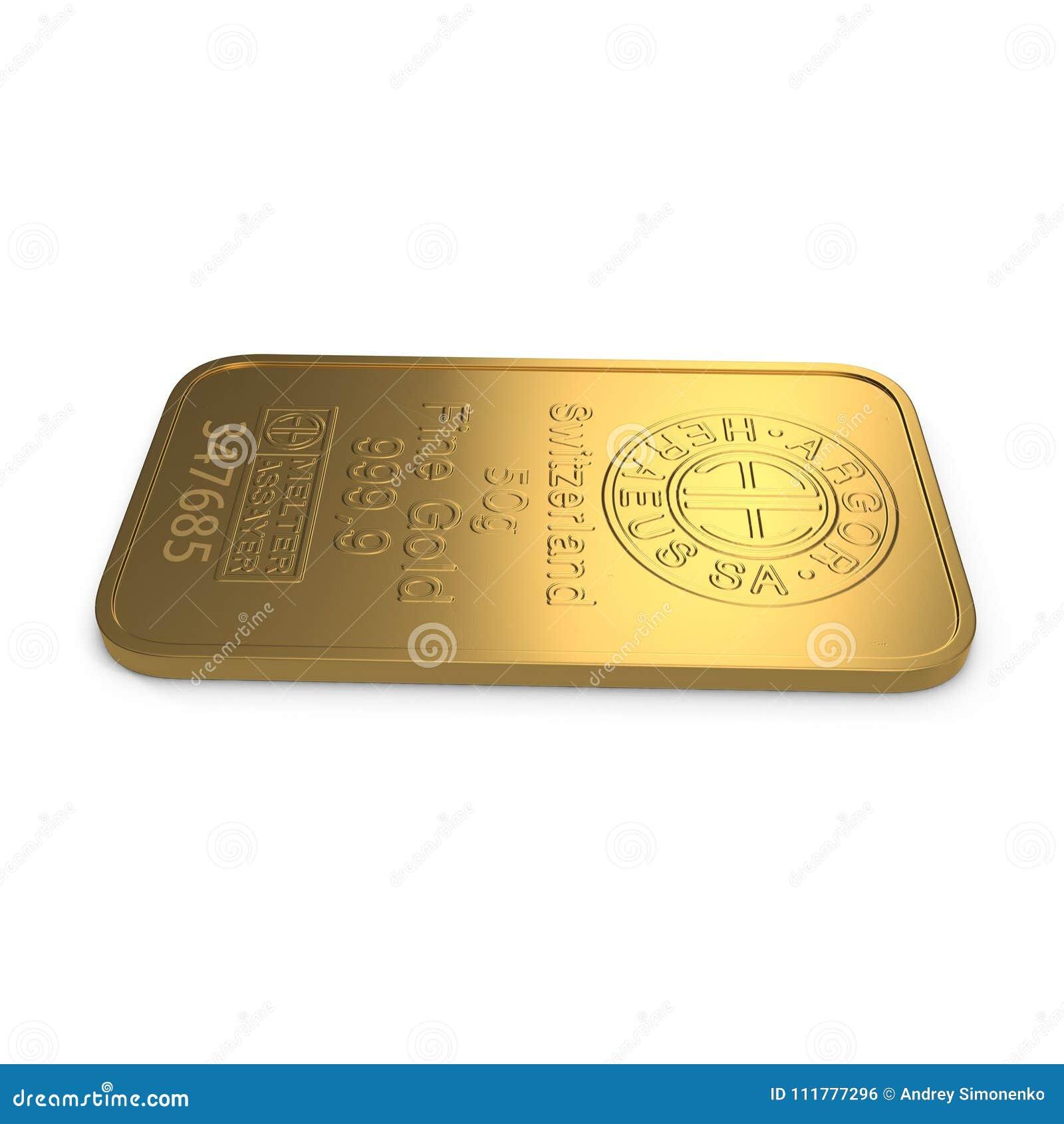 Goldbarren 50g lokalisiert auf Weiß Abbildung 3D