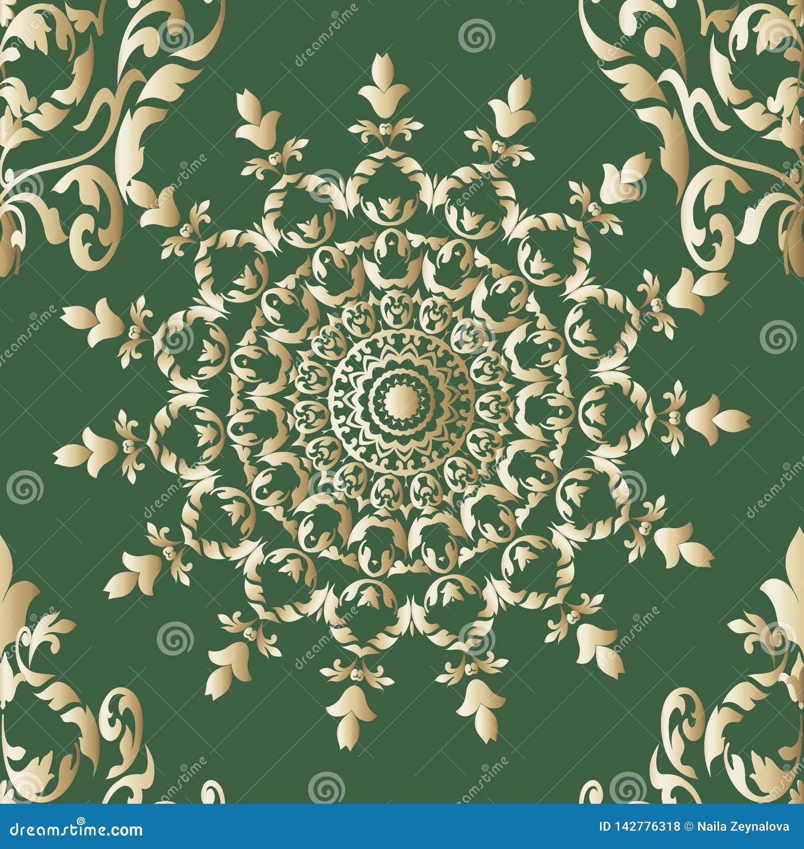 Golddekoratives nahtloses Vektor-Mandalamit blumenmuster Weinlese eleganct gr?ner Hintergrund Oberfl?chenlinie Kunst Damastverzie