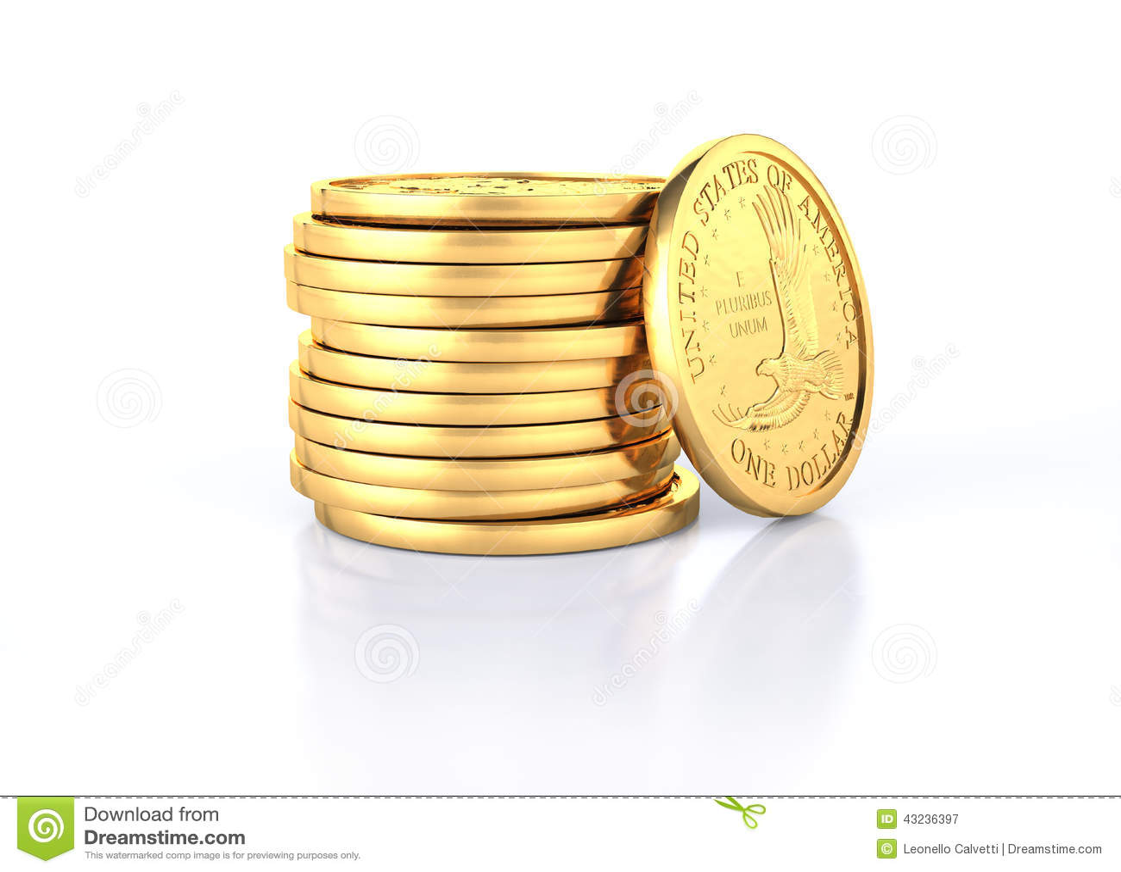 Golddollar Münzenstapel Und Eine Münze Liegend Auf Ihr Stock