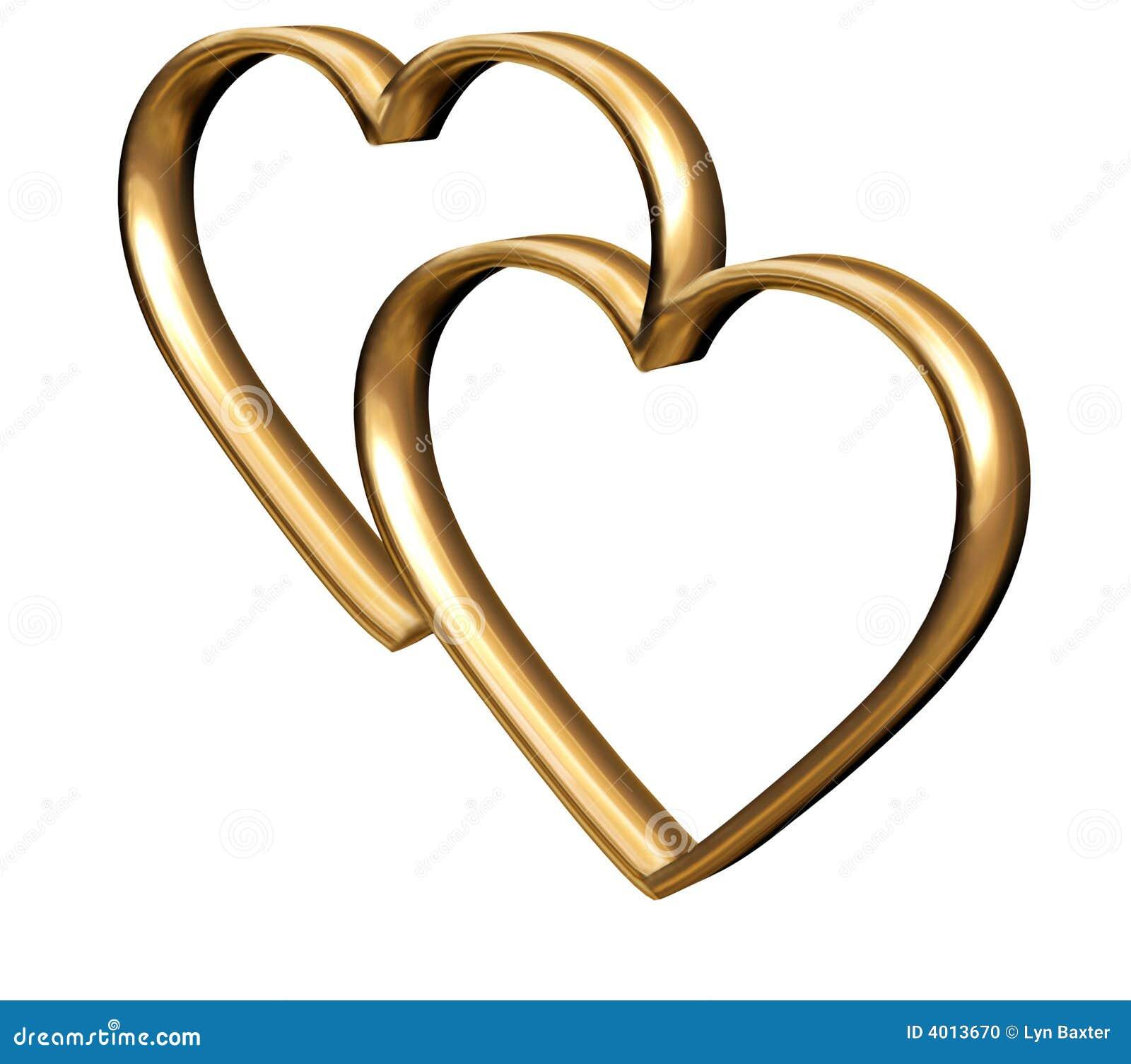 Golden 3D hearts