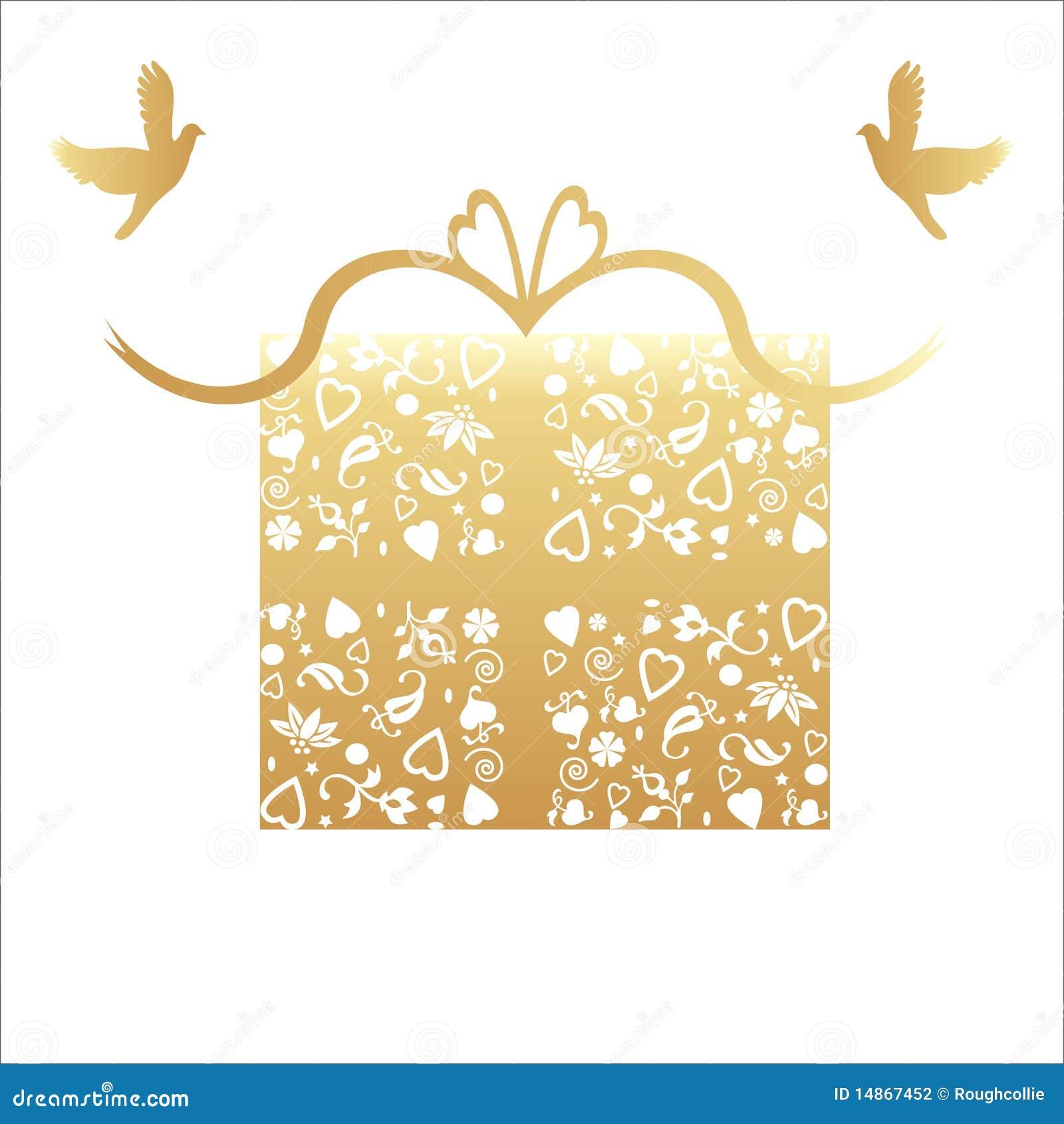 Wedding Present Gift Card : Luxury 50th Golden Wedding Anniversary present / gift card concept ...